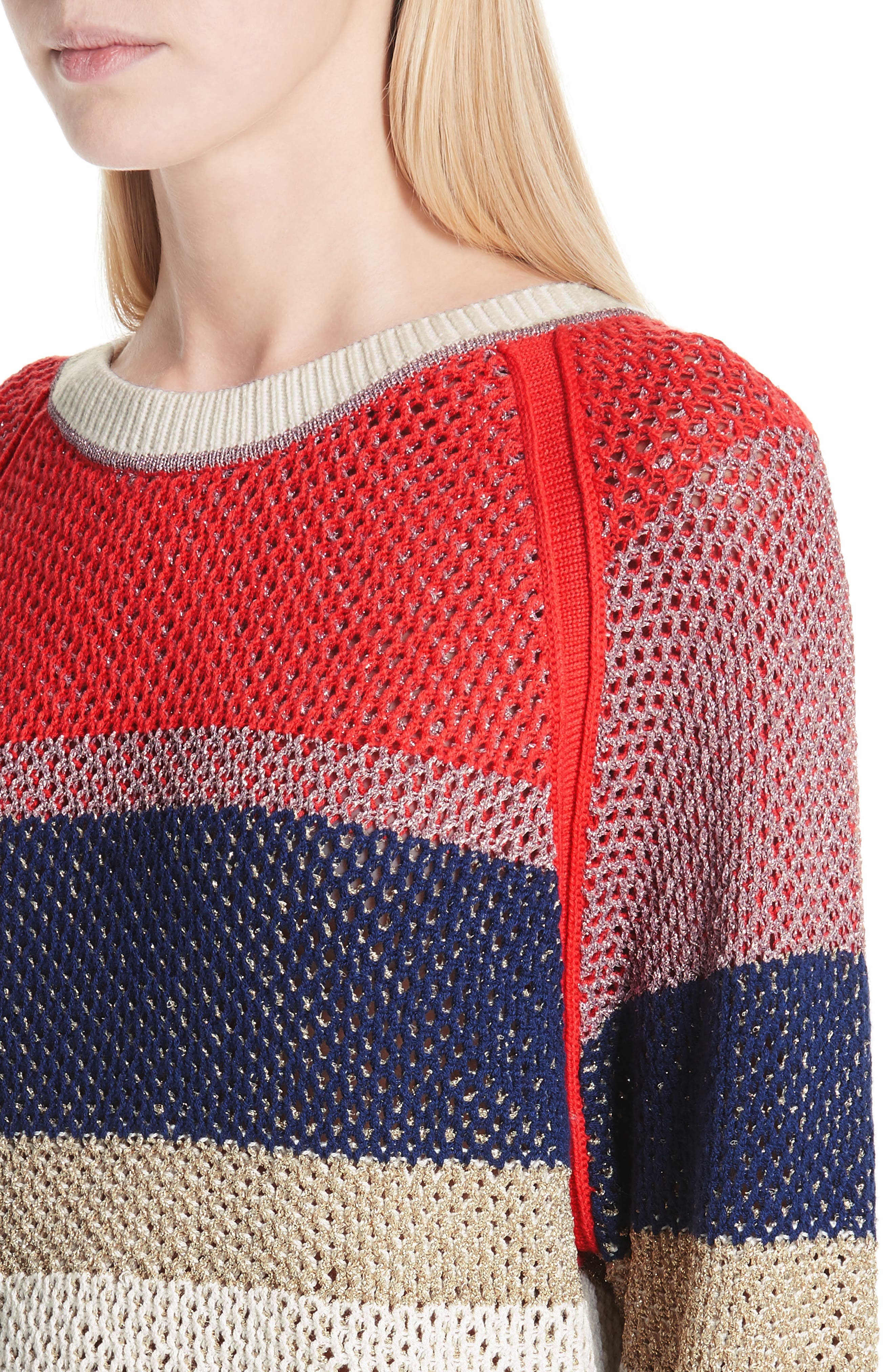Hera Colorblock V-Back Sweater,                             Alternate thumbnail 4, color,                             MULTICOLOR