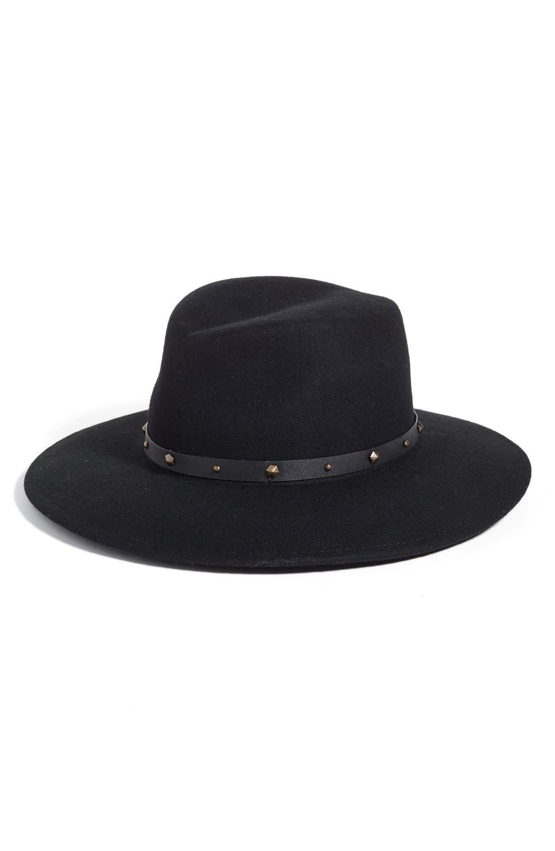 Karli Wool Felt Wide Brim Hat,                             Main thumbnail 1, color,                             001