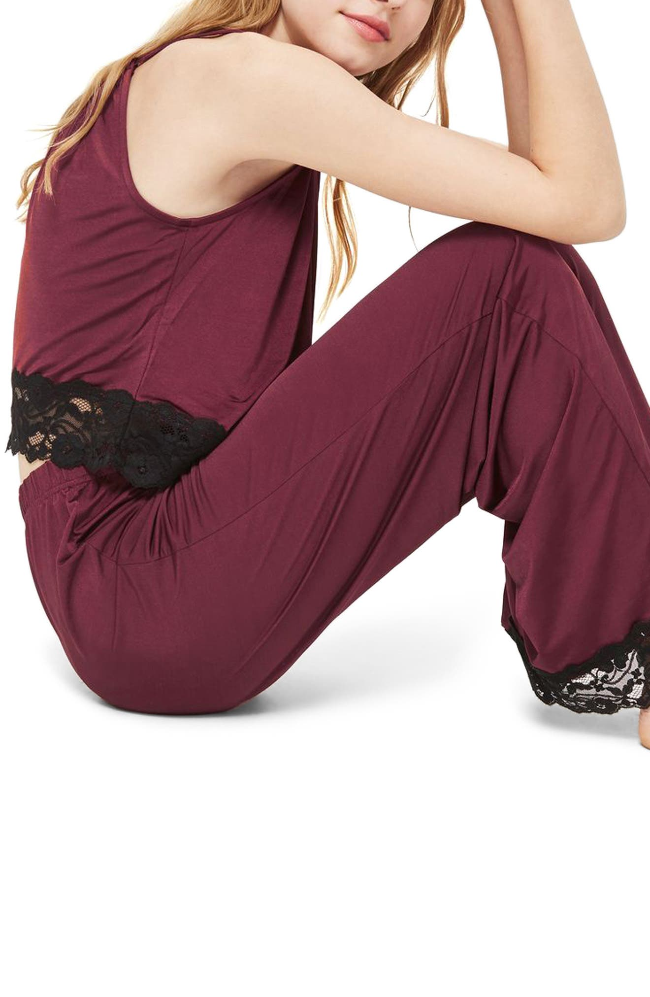 Jersey Satin & Lace Pajama Pants,                             Alternate thumbnail 2, color,                             930