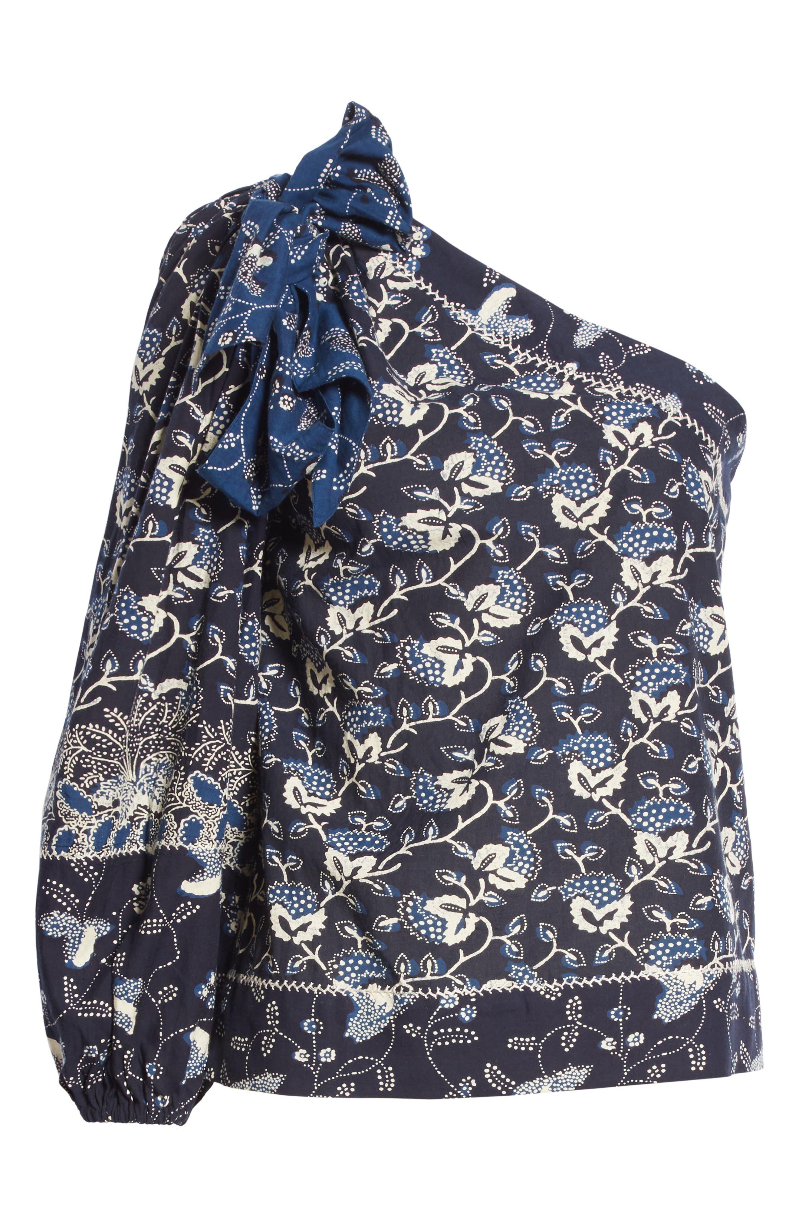 Asima Batik One Shoulder Blouse,                             Alternate thumbnail 6, color,                             400