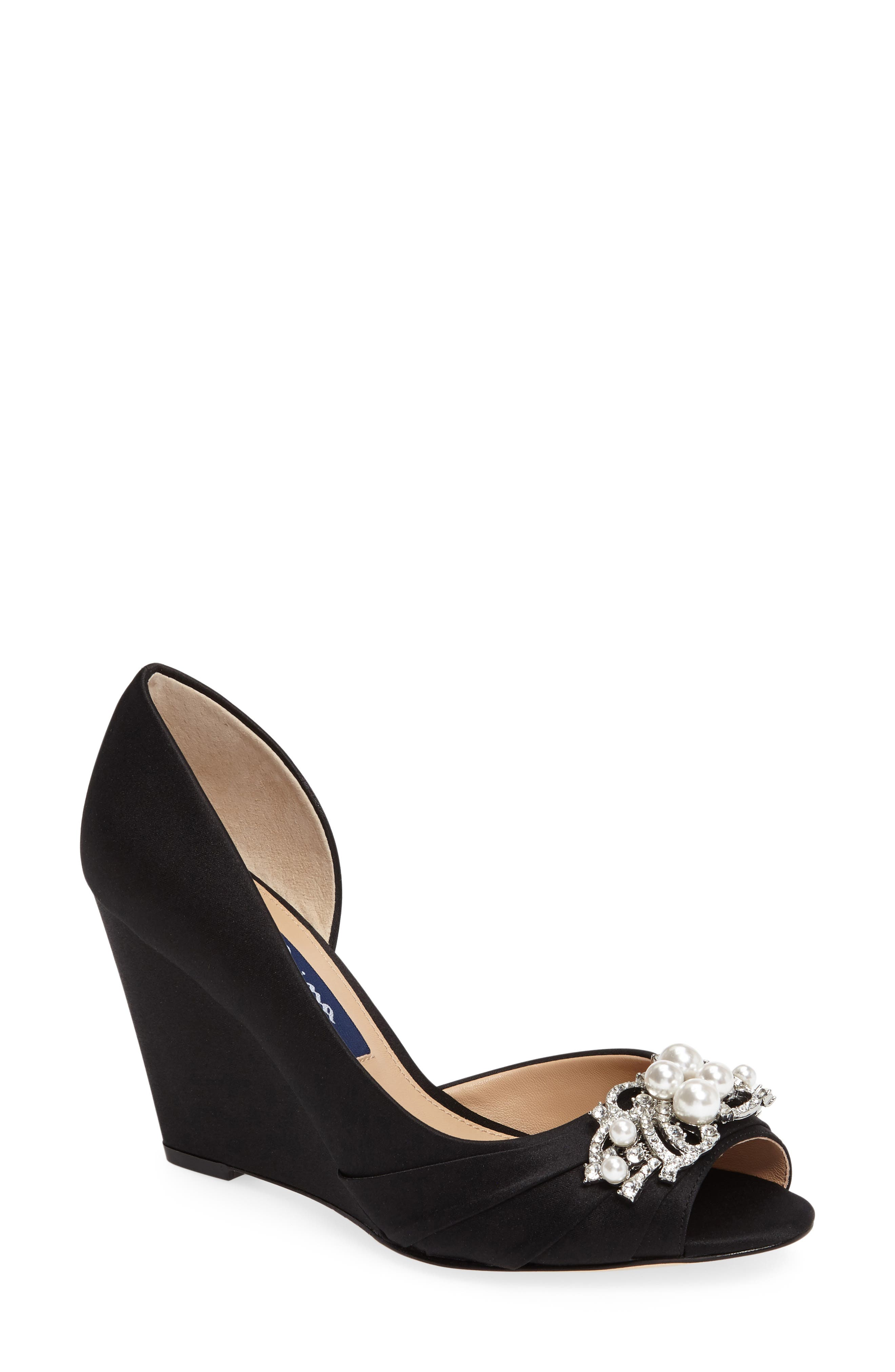 Rona Swarovski Wedge Sandal,                         Main,                         color, 003