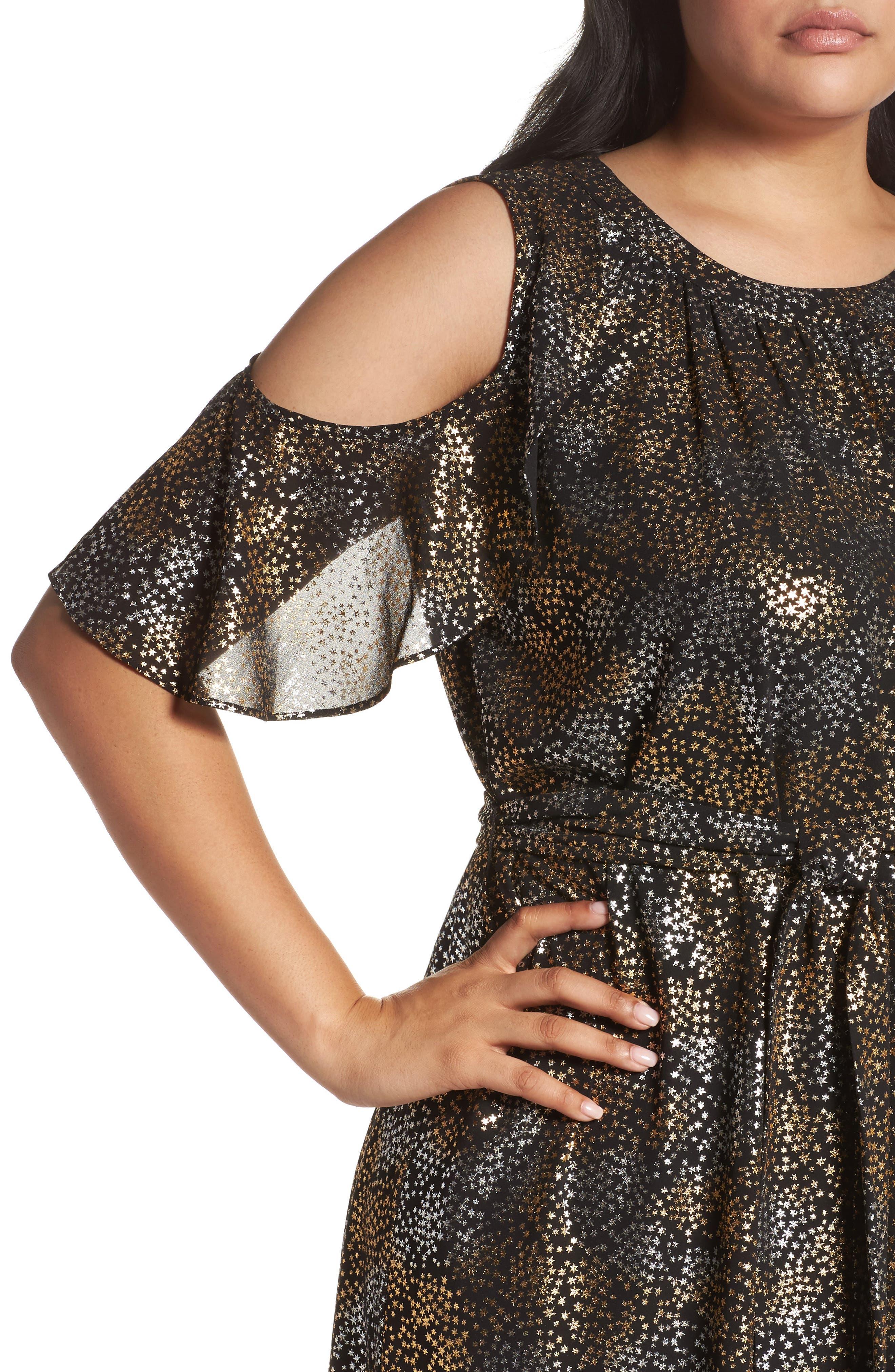 Cold Shoulder Metallic Star A-Line Dress,                             Alternate thumbnail 4, color,                             047