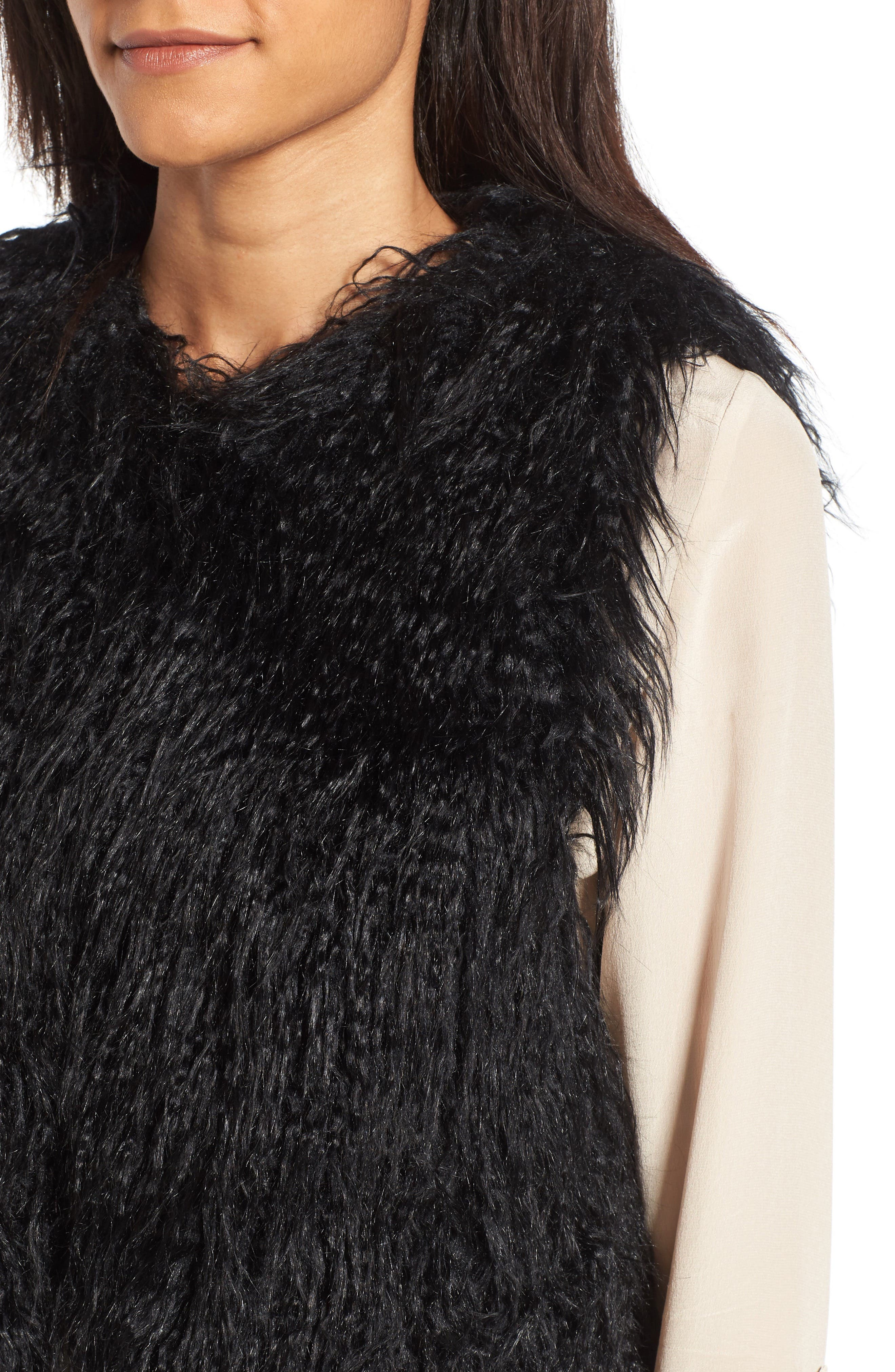 Faux Fur Vest,                             Alternate thumbnail 4, color,                             001