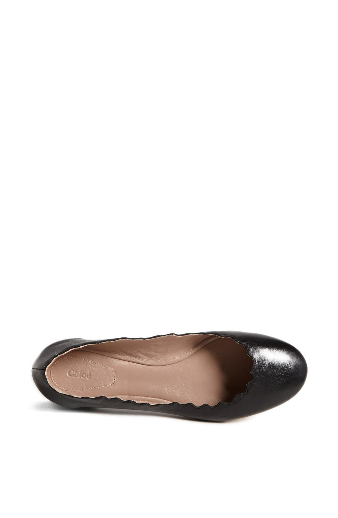 'Lauren' Scalloped Ballet Flat,                             Alternate thumbnail 4, color,                             BLACK LEATHER