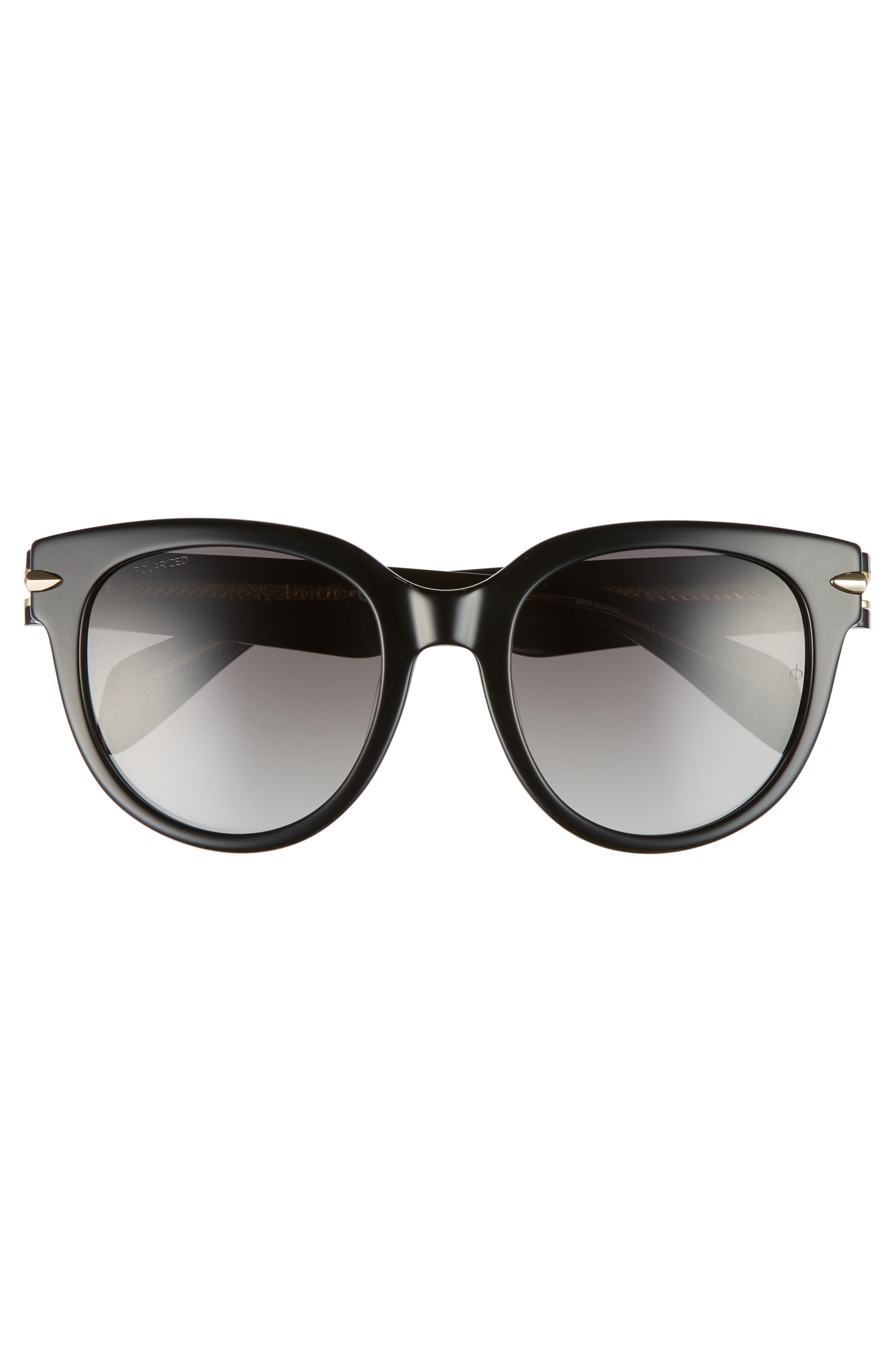 54mm Round Sunglasses,                             Alternate thumbnail 3, color,                             001