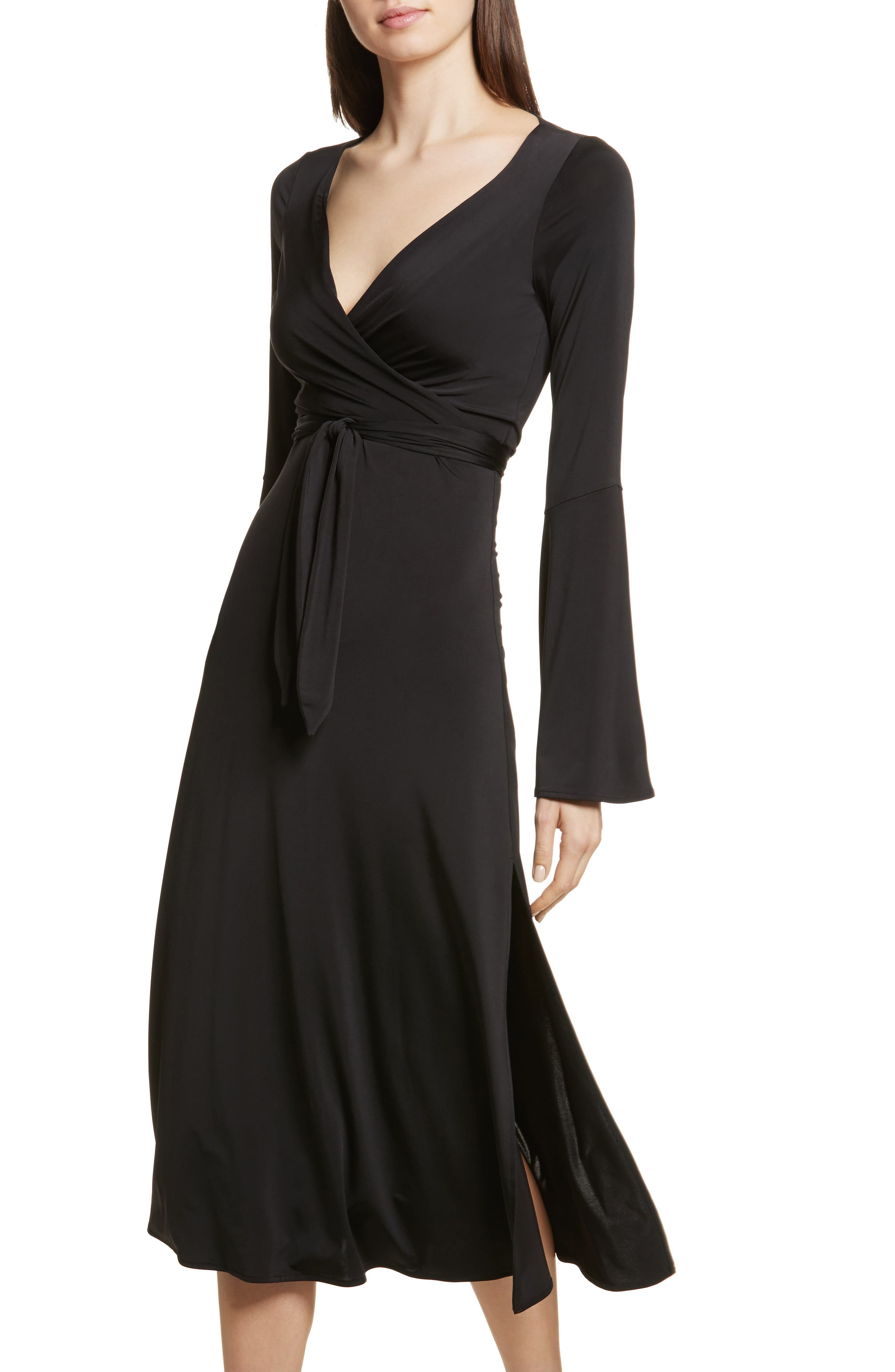 Lourdes Jersey Wrap Midi Dress,                             Alternate thumbnail 4, color,                             001