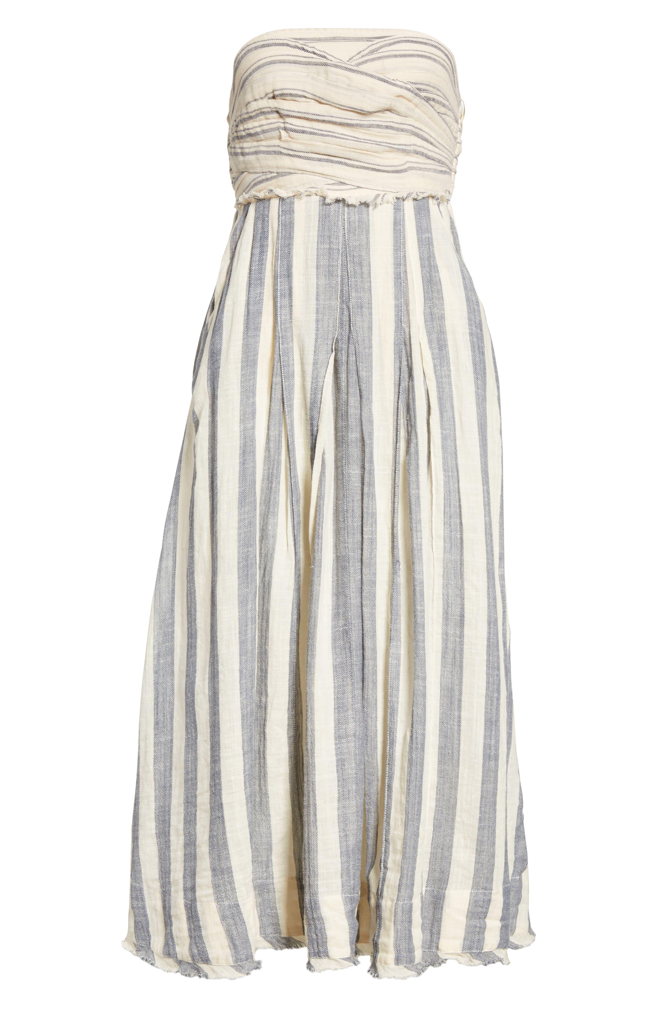 Stripe Me Up Strapless Midi Dress,                             Alternate thumbnail 6, color,                             400