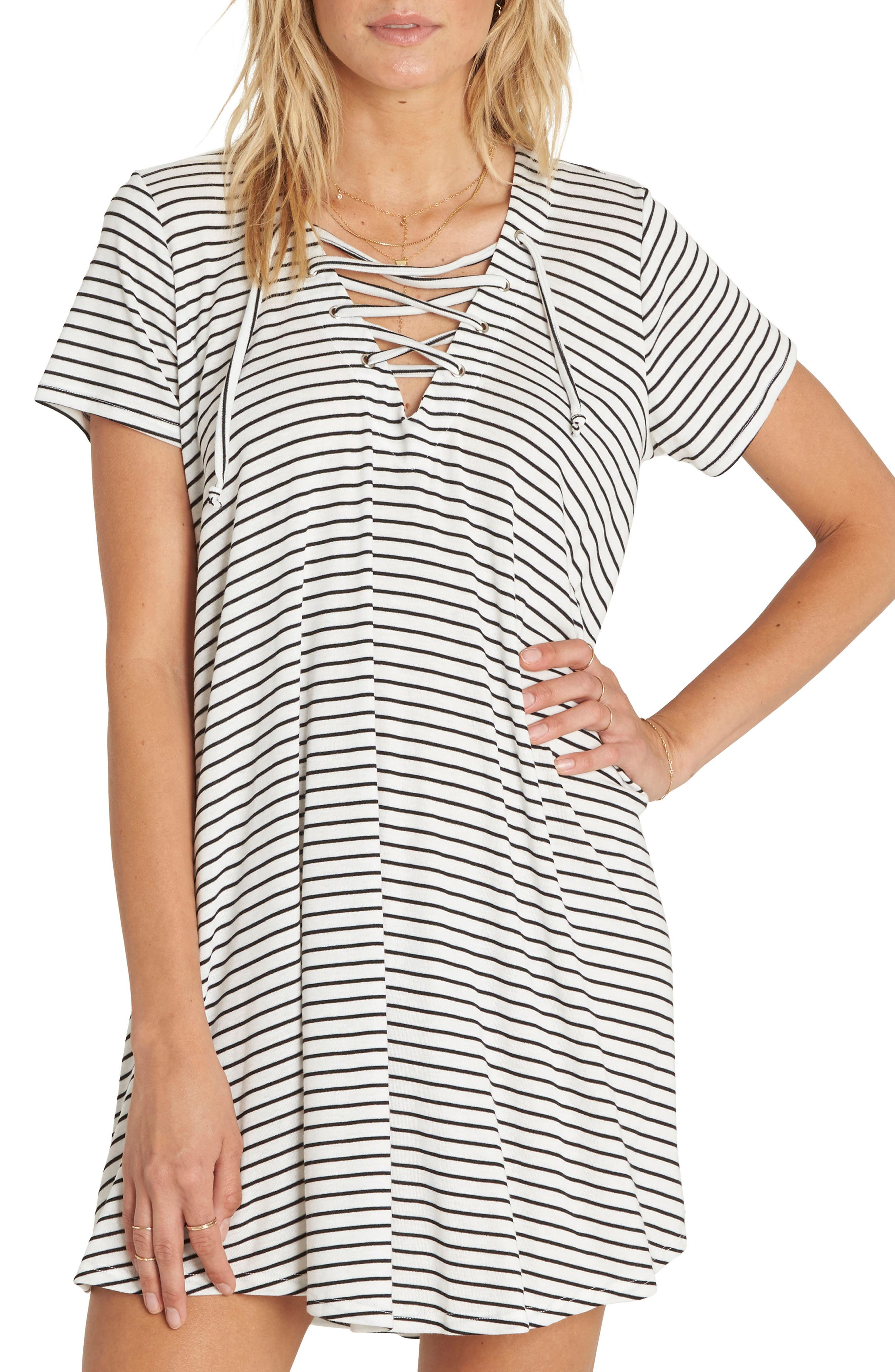 Long Ago Lace-Up T-Shirt Dress,                             Main thumbnail 1, color,                             COOL WIP