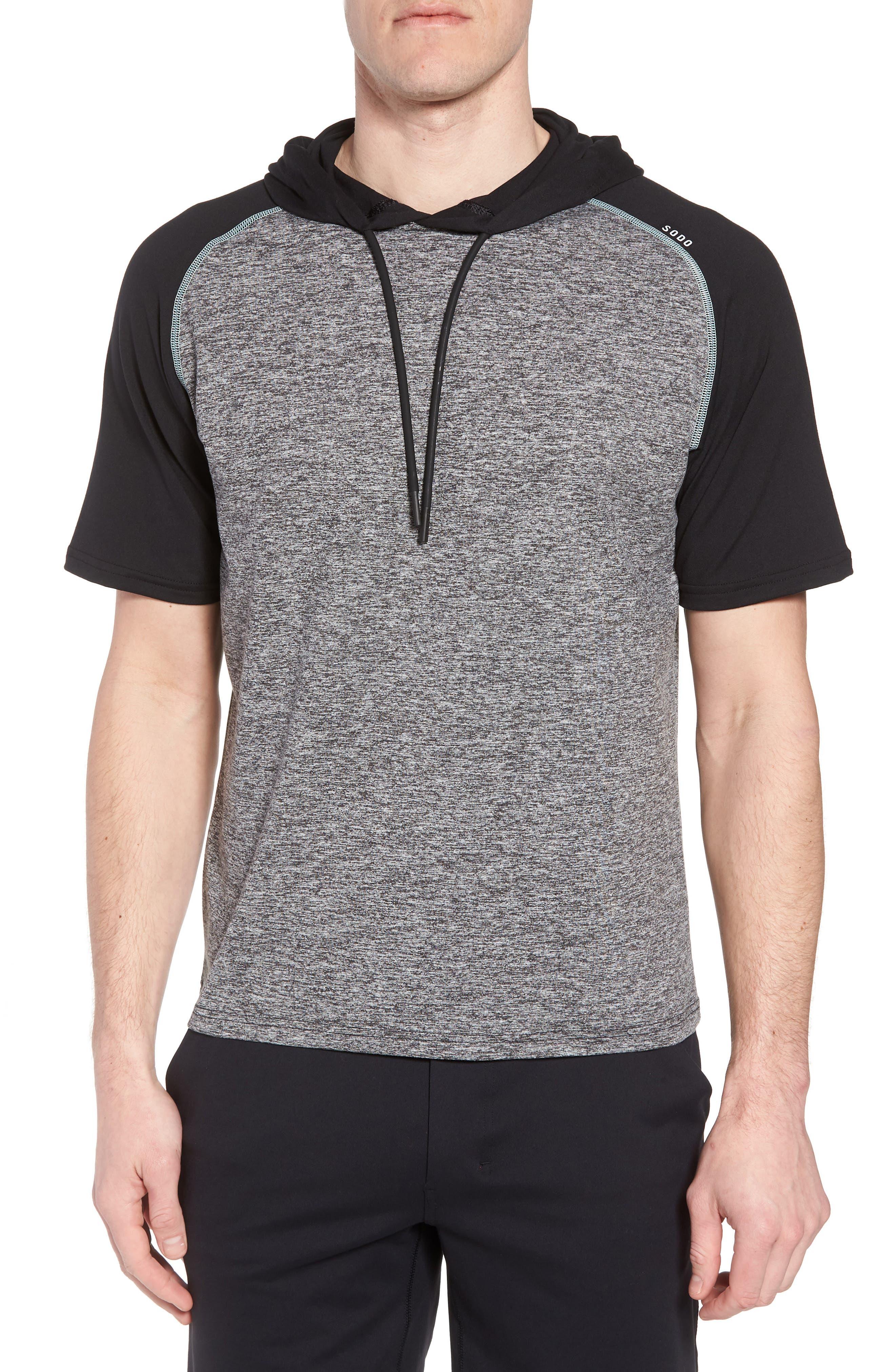Quad Short Sleeve Hoodie,                         Main,                         color, HEATHER BLACK/ BLACK/ MINT