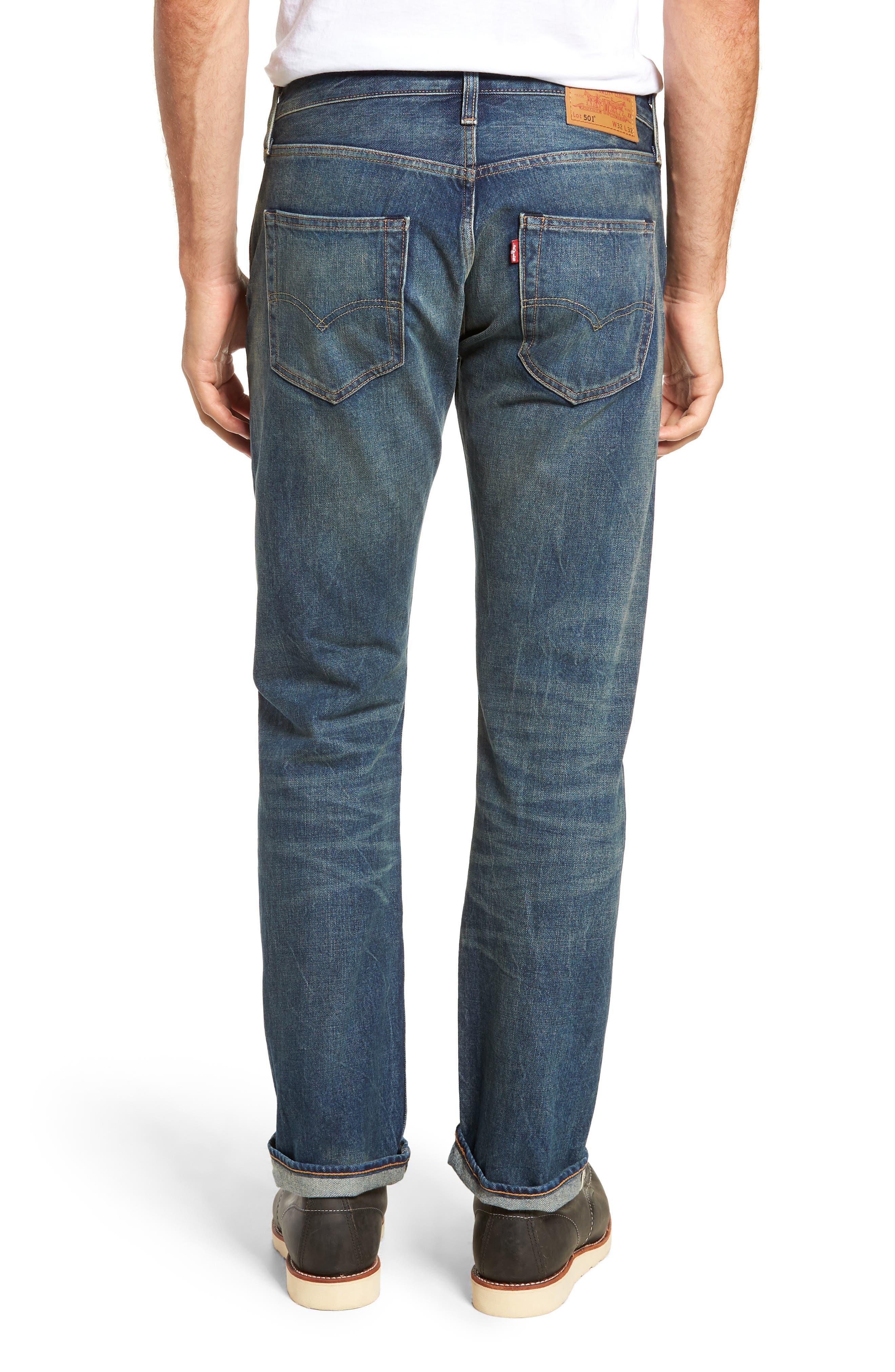 501<sup>®</sup> Original Straight Leg Selvedge Jeans,                             Alternate thumbnail 2, color,                             401