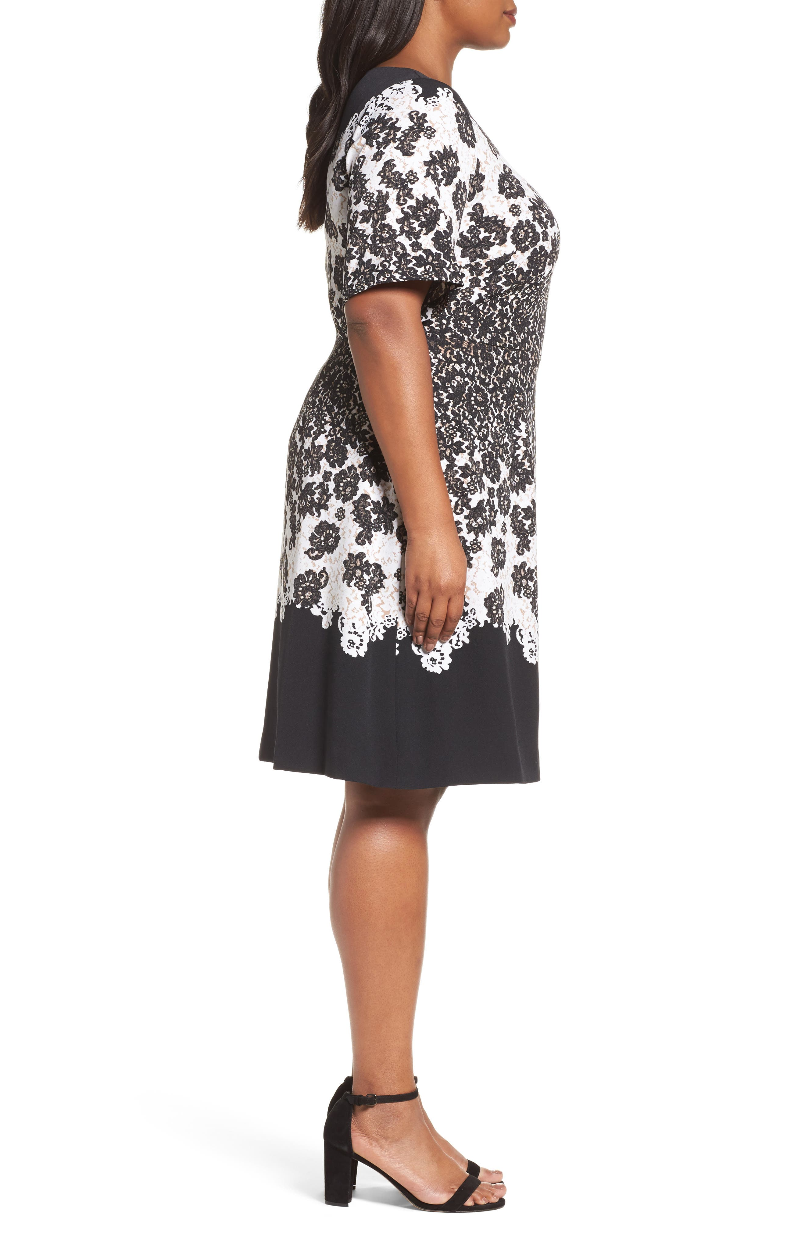 Lace Print Fit & Flare Dress,                             Alternate thumbnail 3, color,
