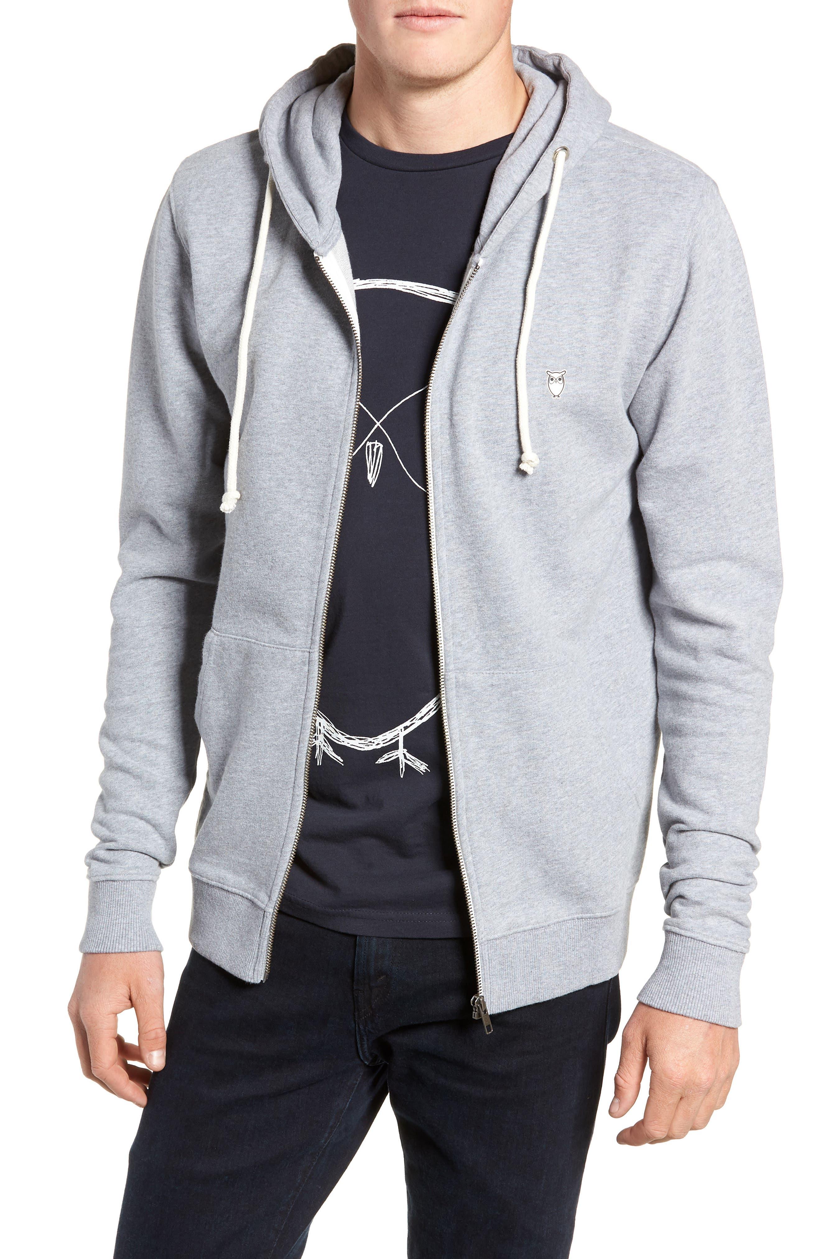 Trim Fit Zip-Up Hoodie,                         Main,                         color, GREY MELANGE