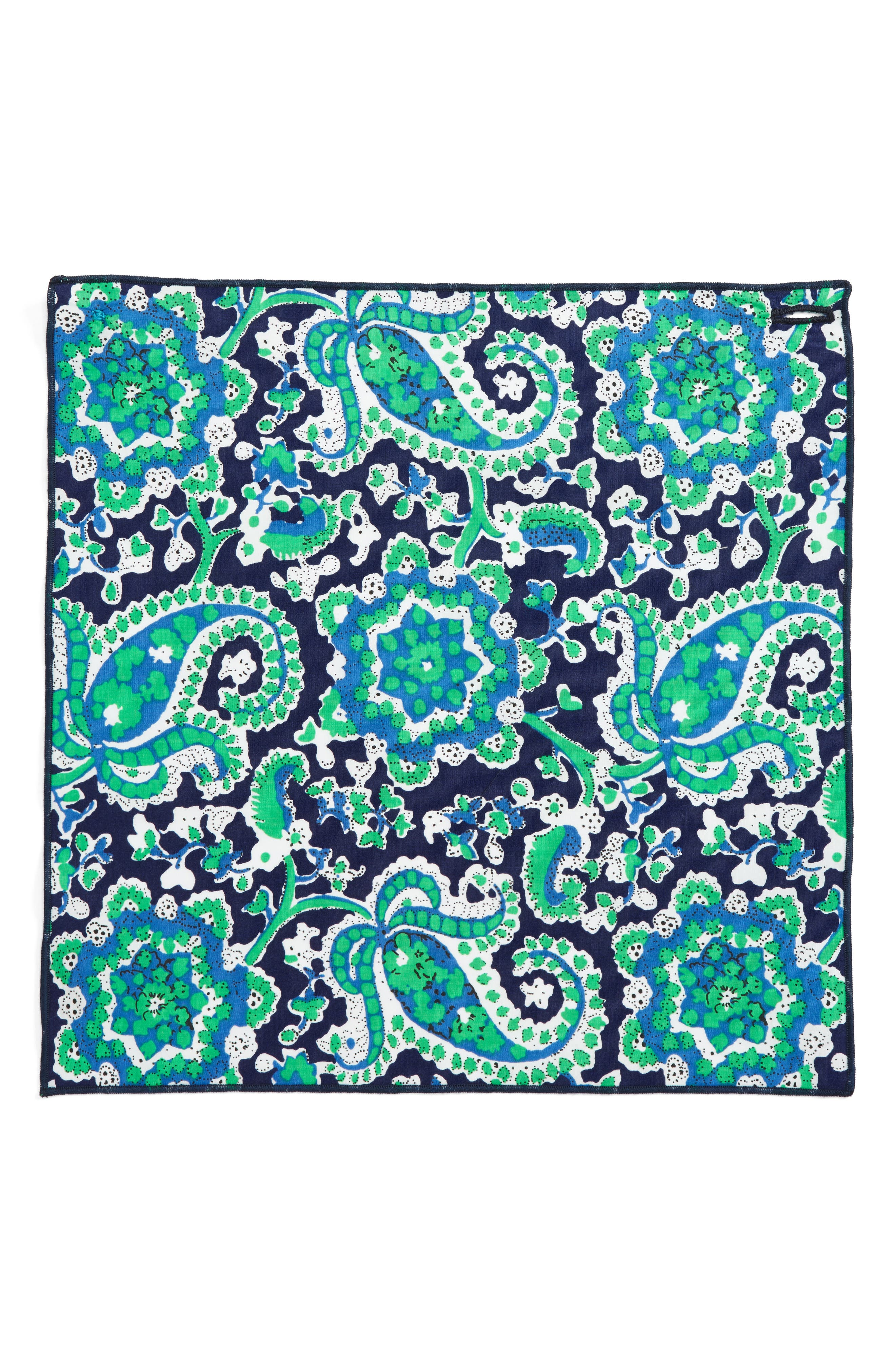 Green Plant Cotton Pocket Square,                             Alternate thumbnail 2, color,
