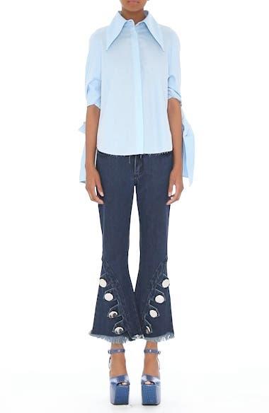Marques'Almeida Button Trim Crop Flare Jeans, video thumbnail
