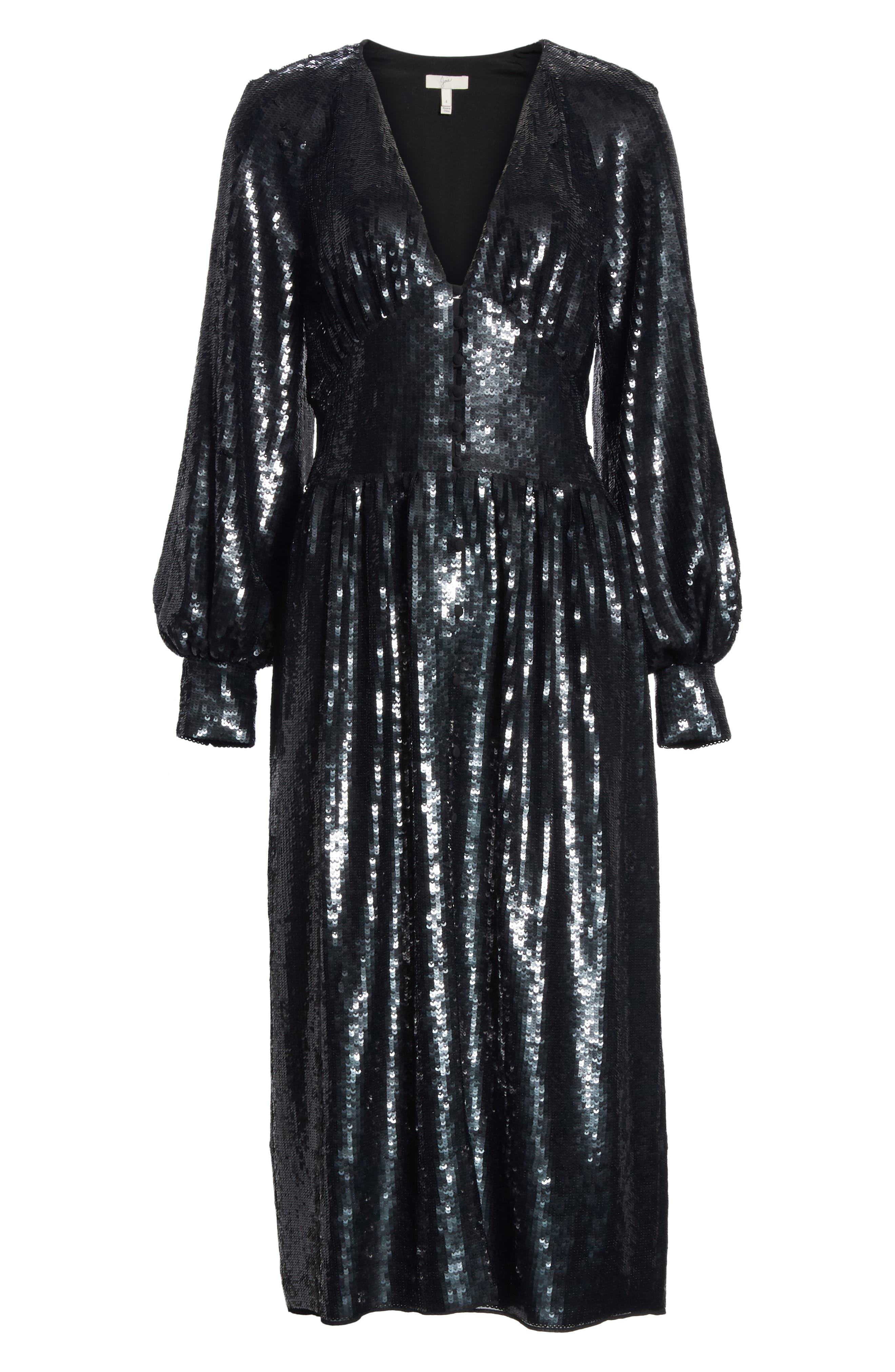 Kyria B Sequin Midi Dress,                             Alternate thumbnail 6, color,                             001