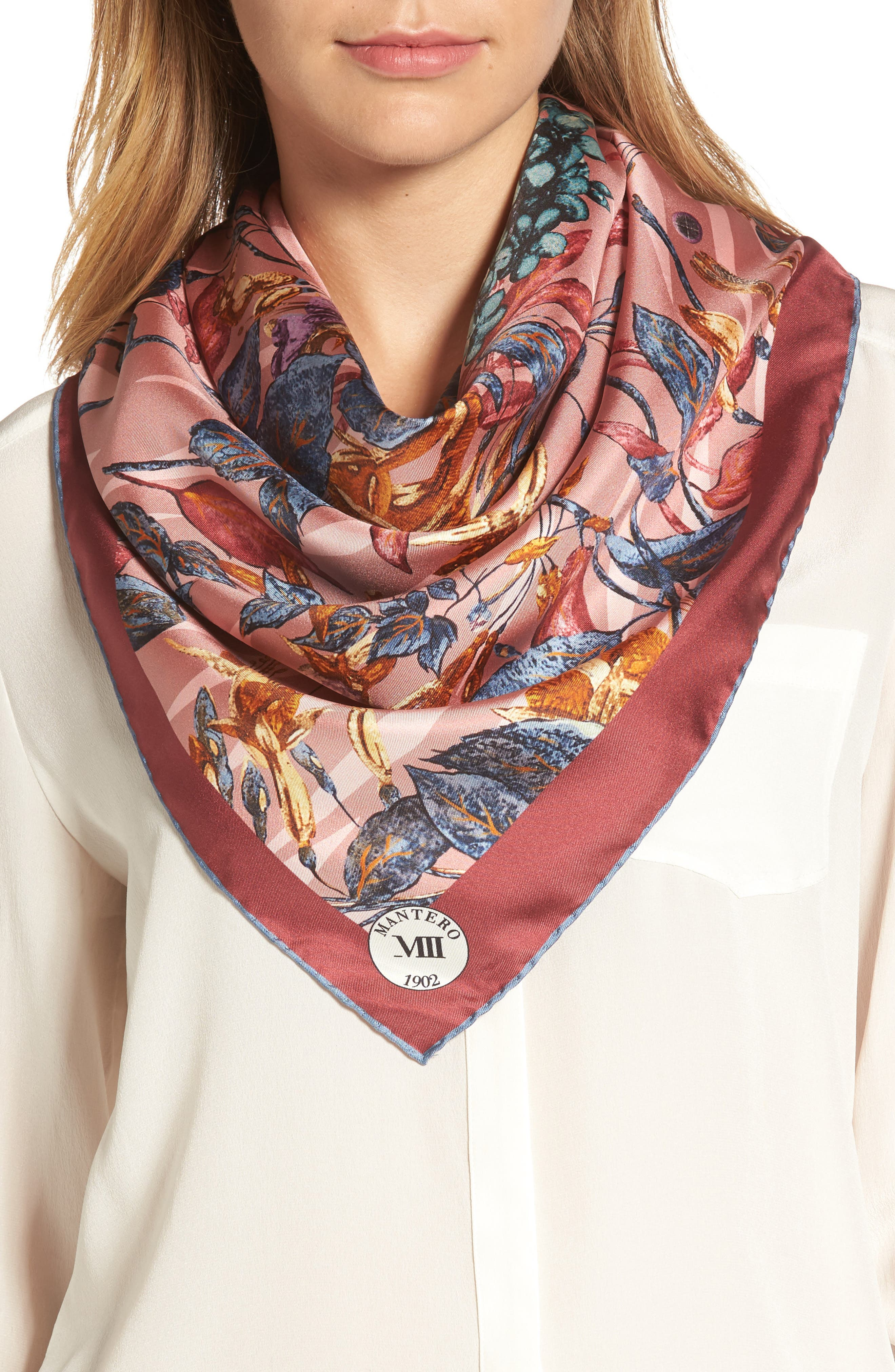 Tra le Righe Square Silk Scarf,                             Alternate thumbnail 4, color,