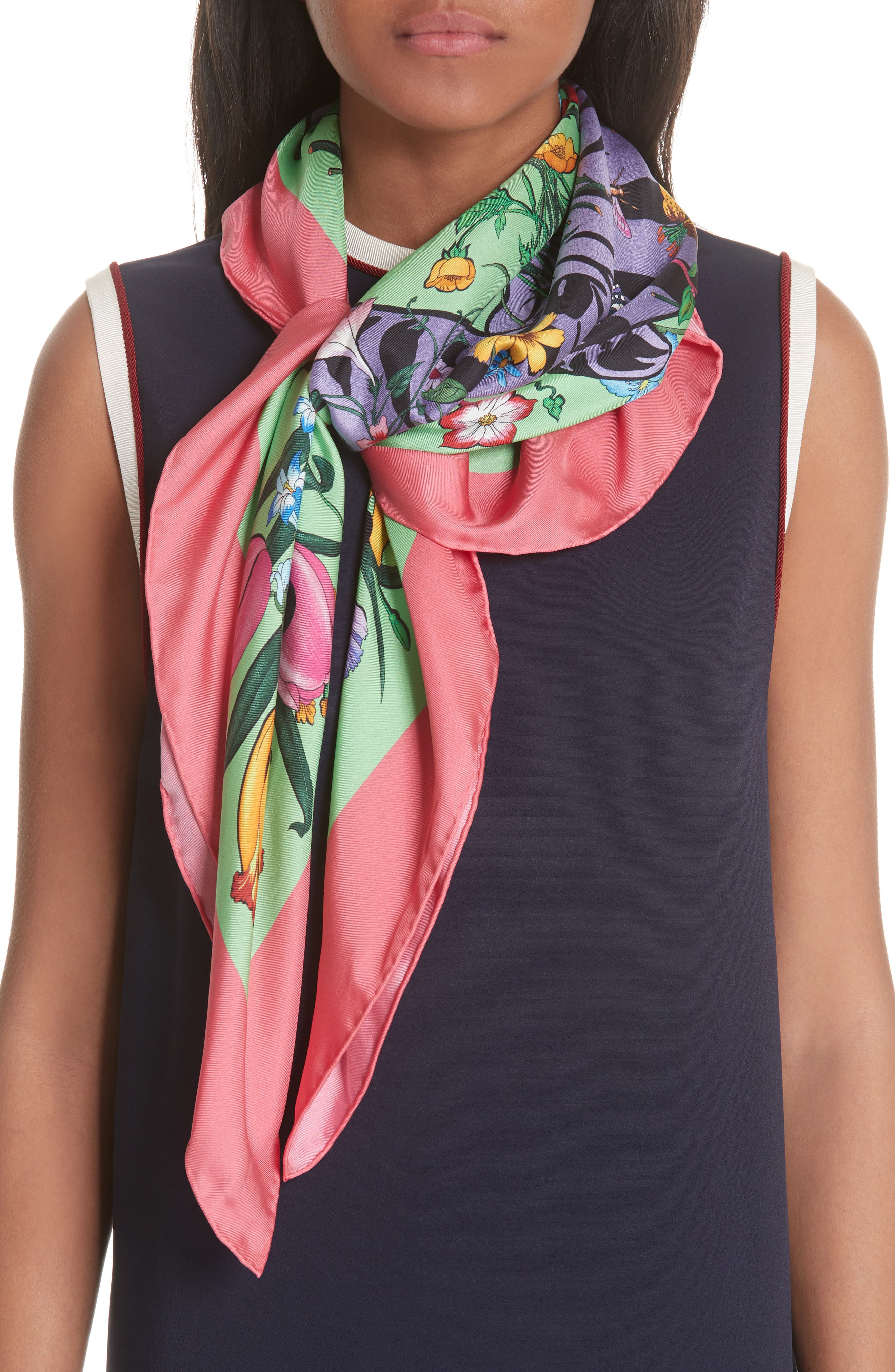 Flora Tiger Square Silk Scarf,                             Main thumbnail 1, color,                             AQUA/ PINK