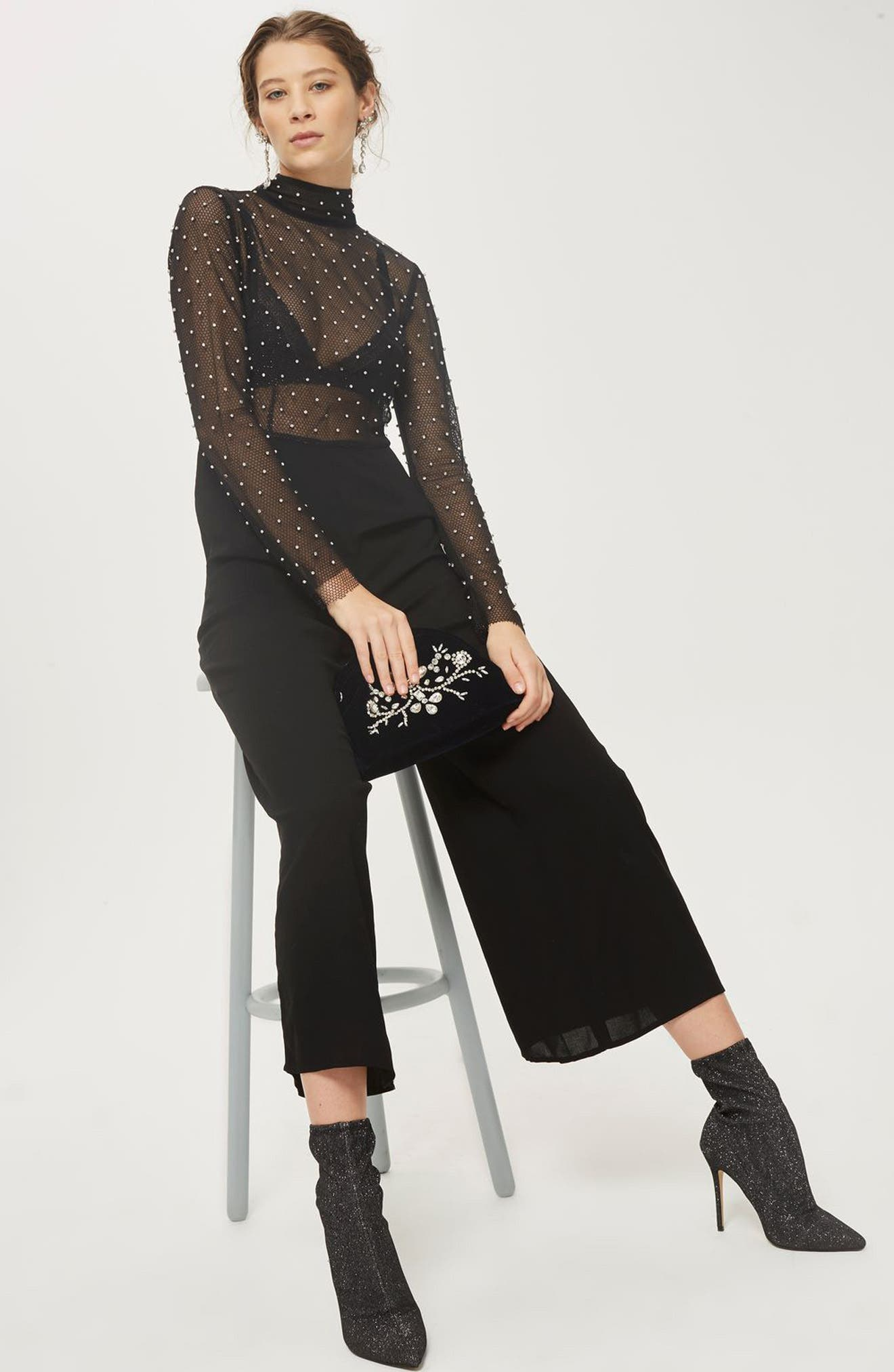 TOPSHOP,                             Diamante Fishnet Jumpsuit,                             Alternate thumbnail 5, color,                             001