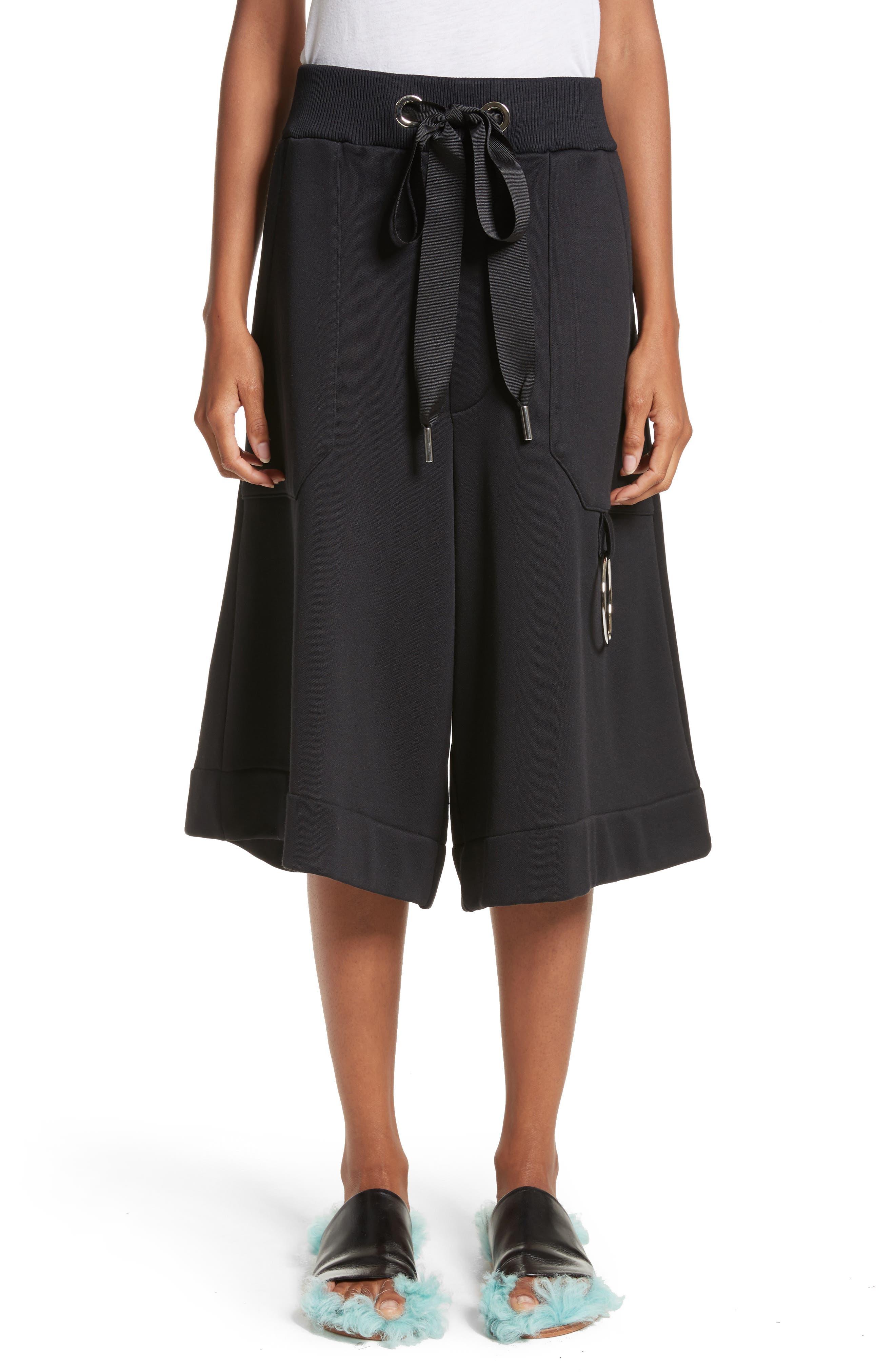 Marques'Almeida Tracksuit Wide Leg Fleece Shorts,                         Main,                         color, 001