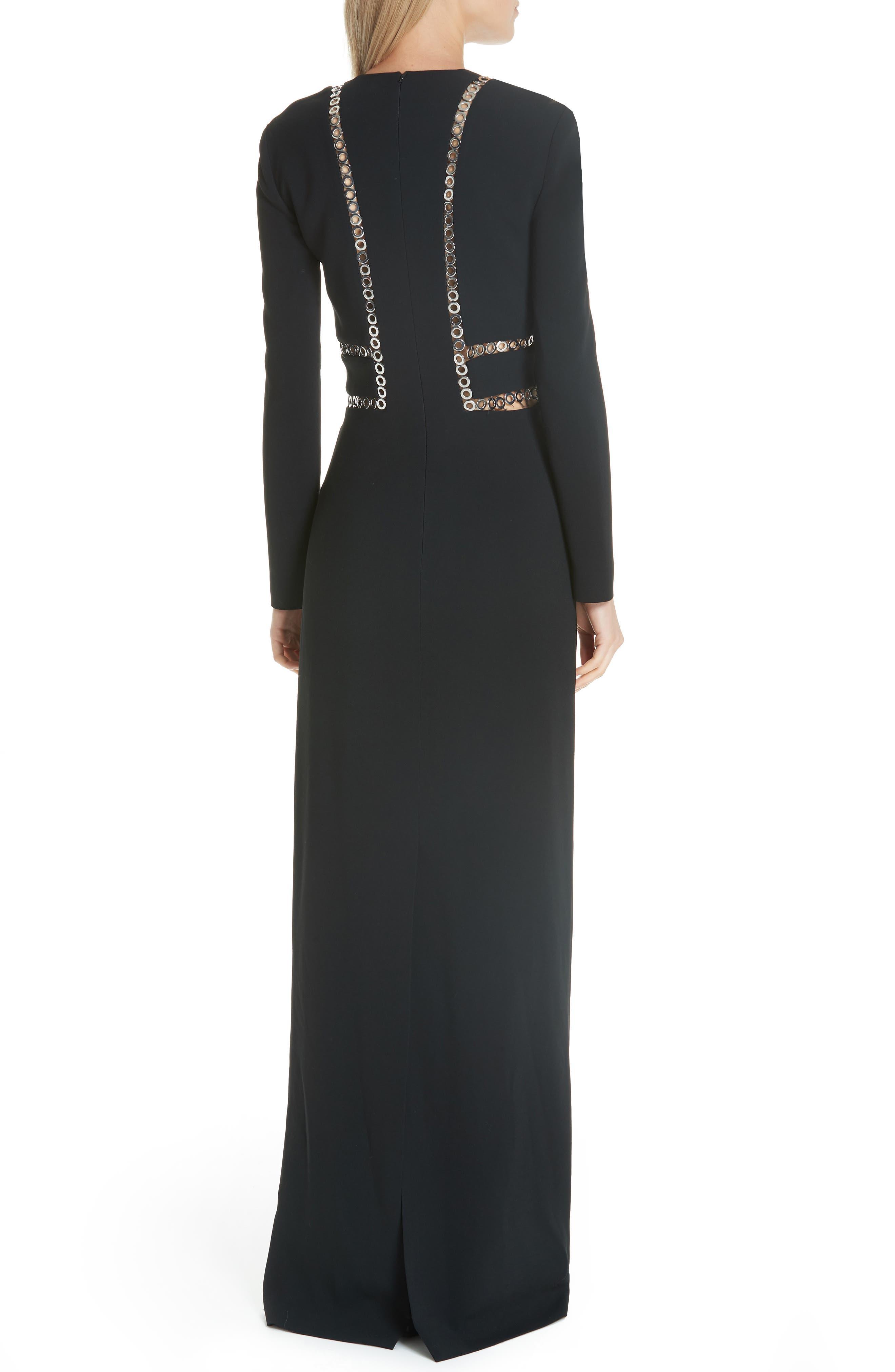 Grommet Trim Gown,                             Alternate thumbnail 2, color,                             BLACK