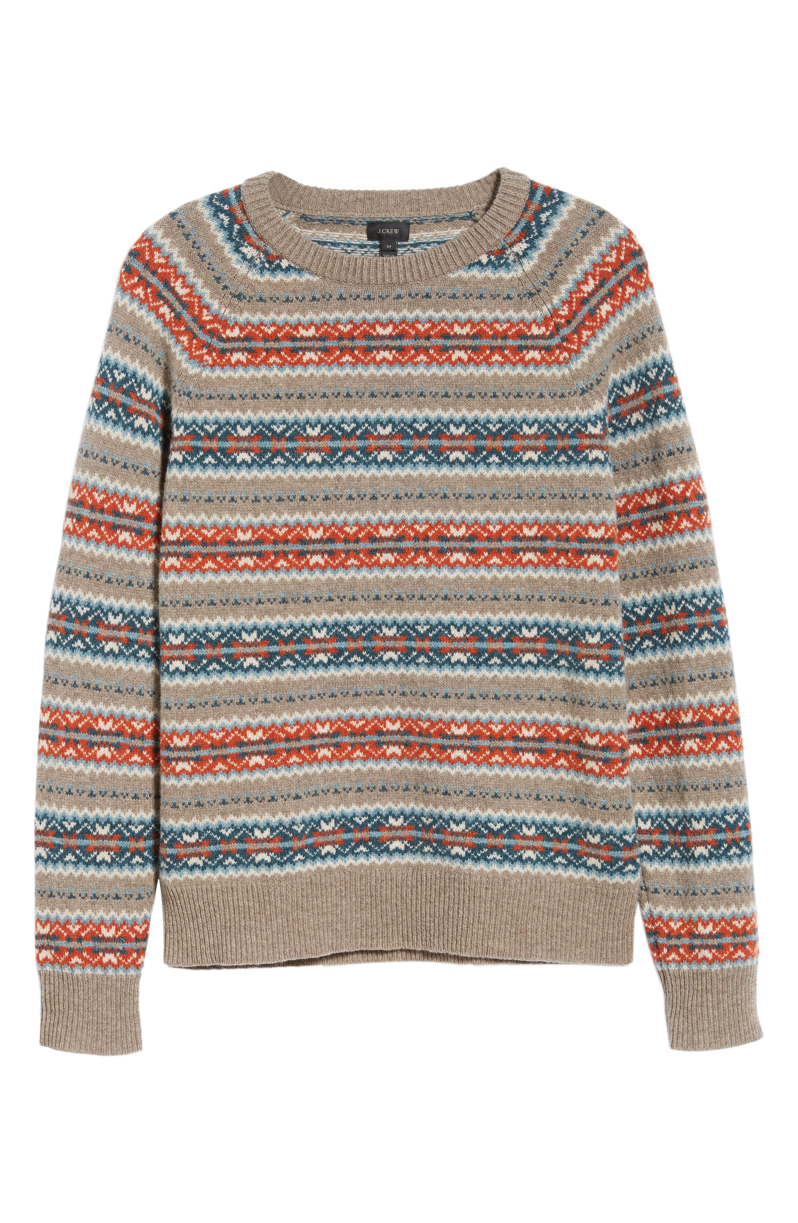 Fair Isle Lambswool Sweater,                             Alternate thumbnail 6, color,                             ASH
