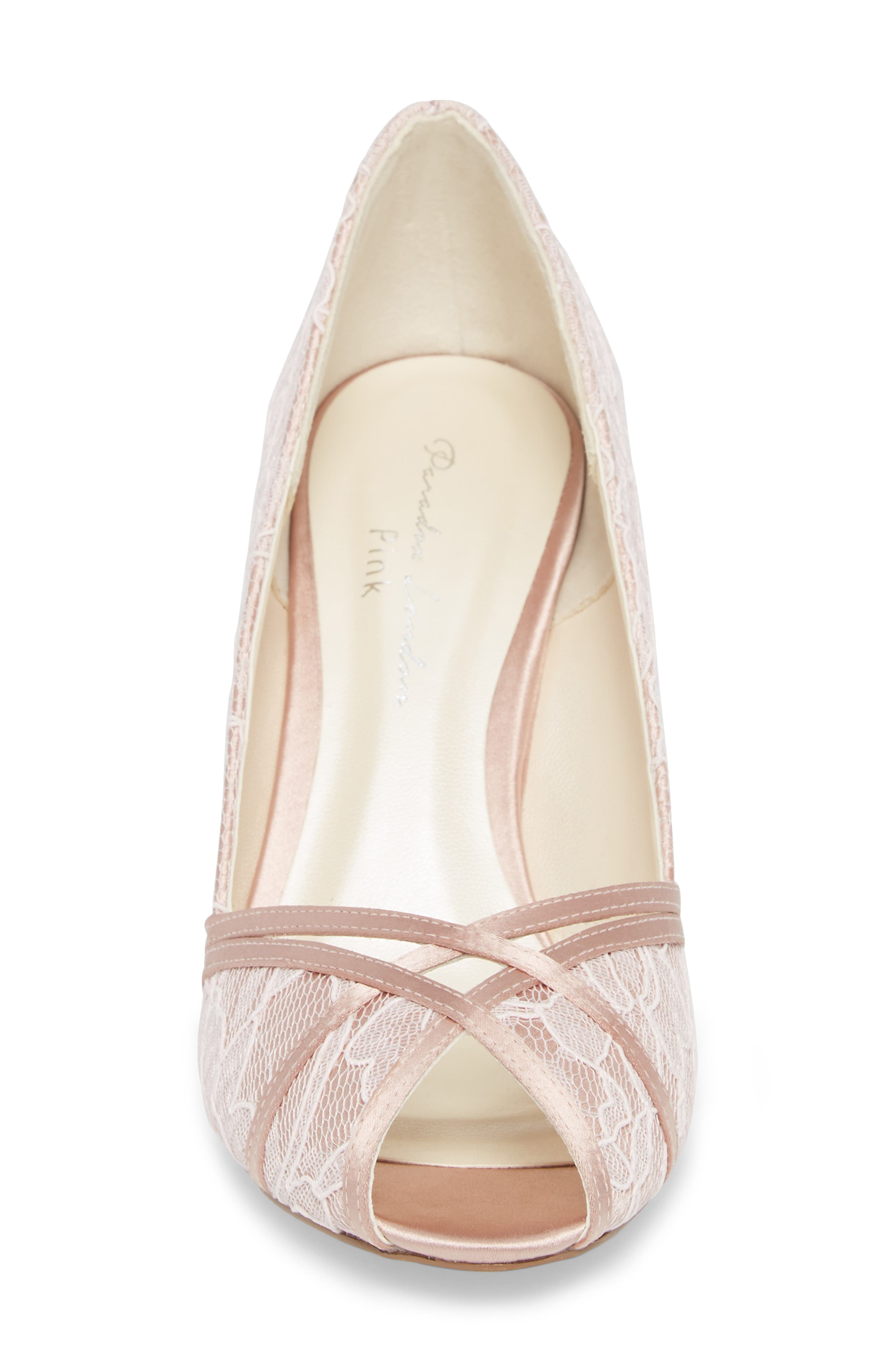 Cherie Embroidered Peep Toe Pump,                             Alternate thumbnail 4, color,                             BLUSH SATIN