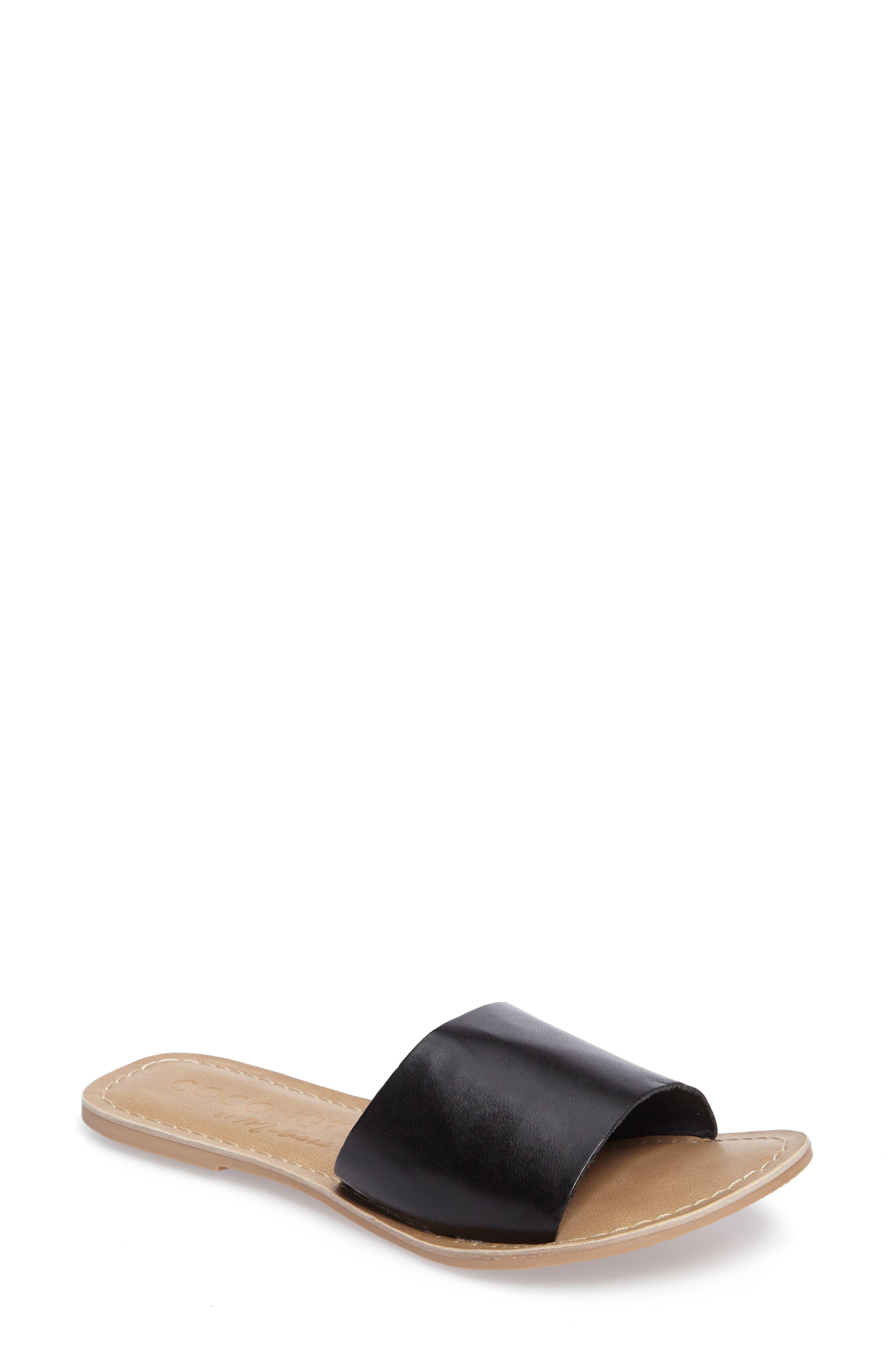 Cabana Slide Sandal,                             Main thumbnail 1, color,                             BLACK LEATHER