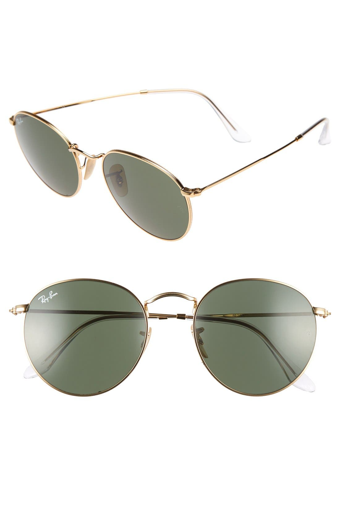 Icons 53mm Retro Sunglasses,                             Main thumbnail 1, color,                             GOLD/ GREEN