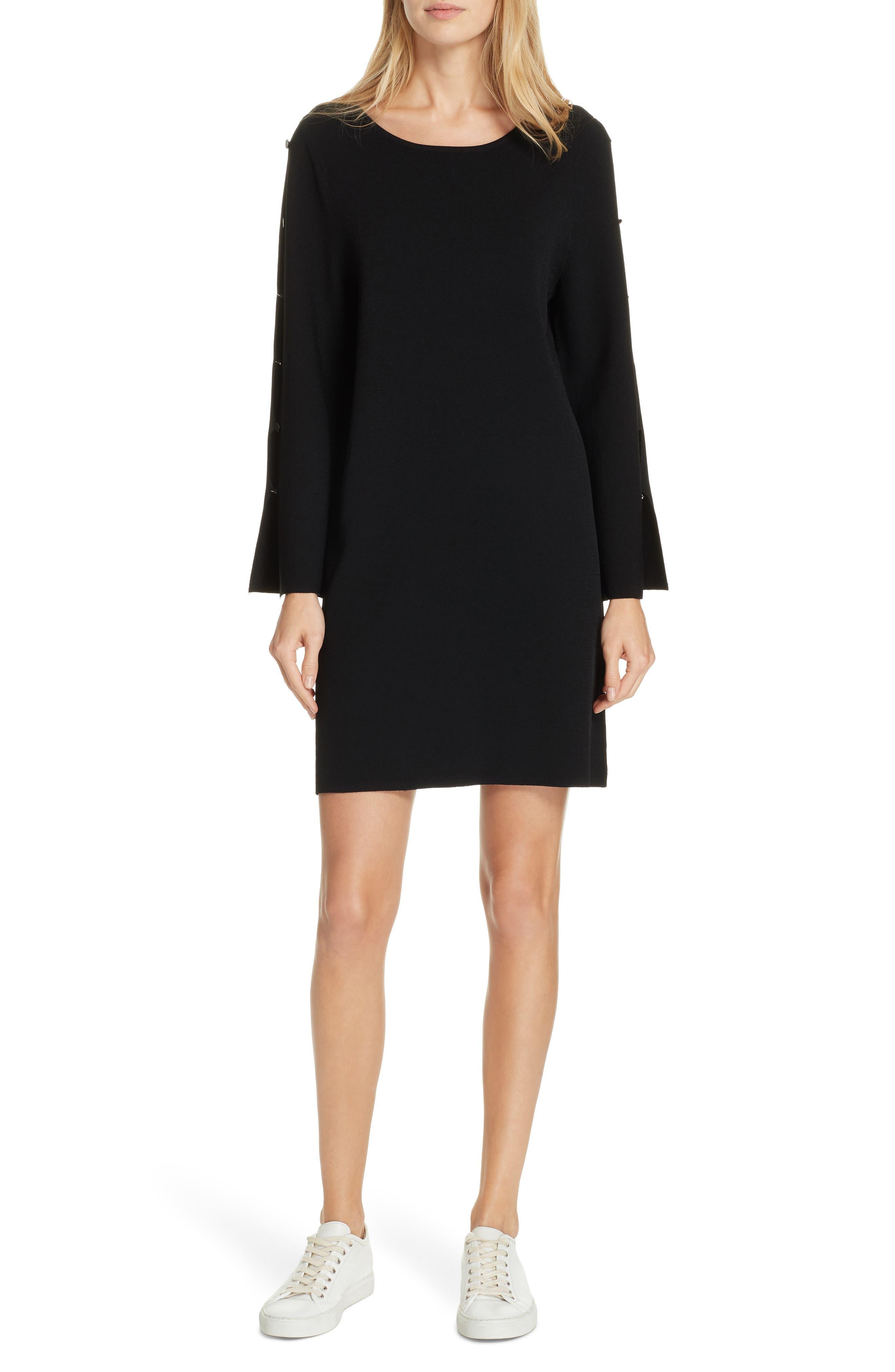 Milly Button Sleeve Shift Dress, Size Petite - Black