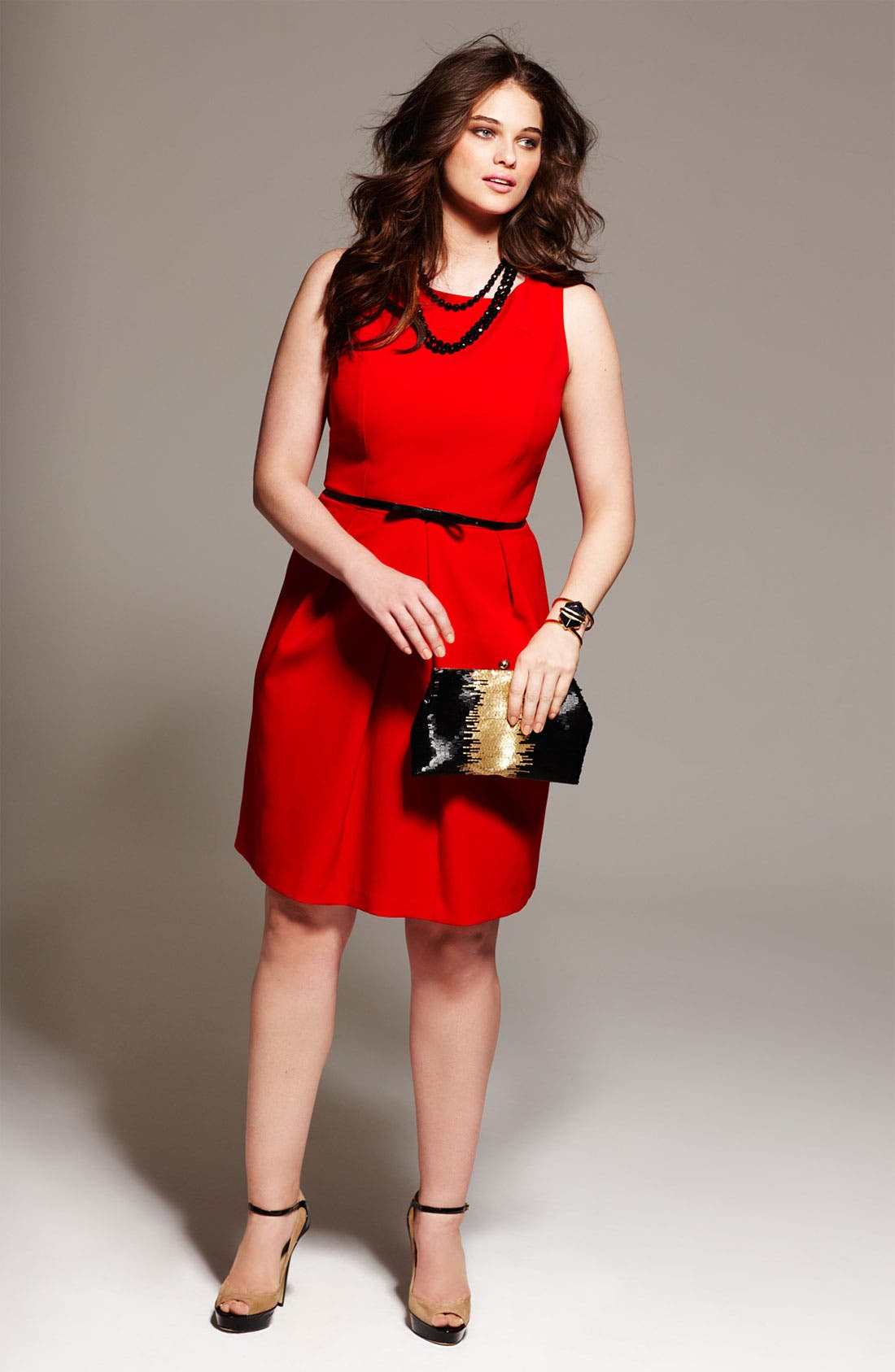 Belted A-Line Dress,                             Alternate thumbnail 5, color,                             600