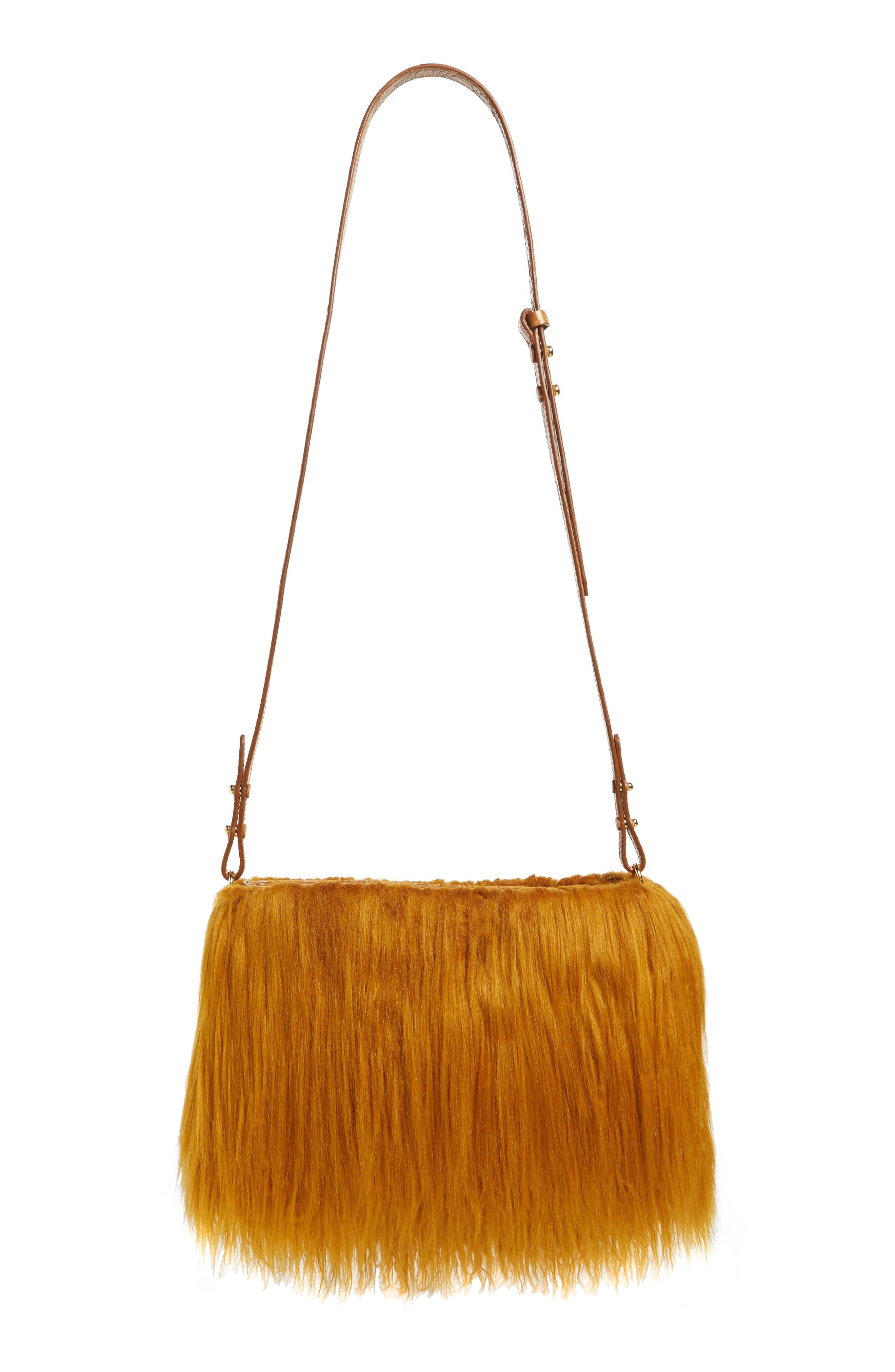 Faux Shearling Crossbody Bag,                             Alternate thumbnail 2, color,                             GOLD