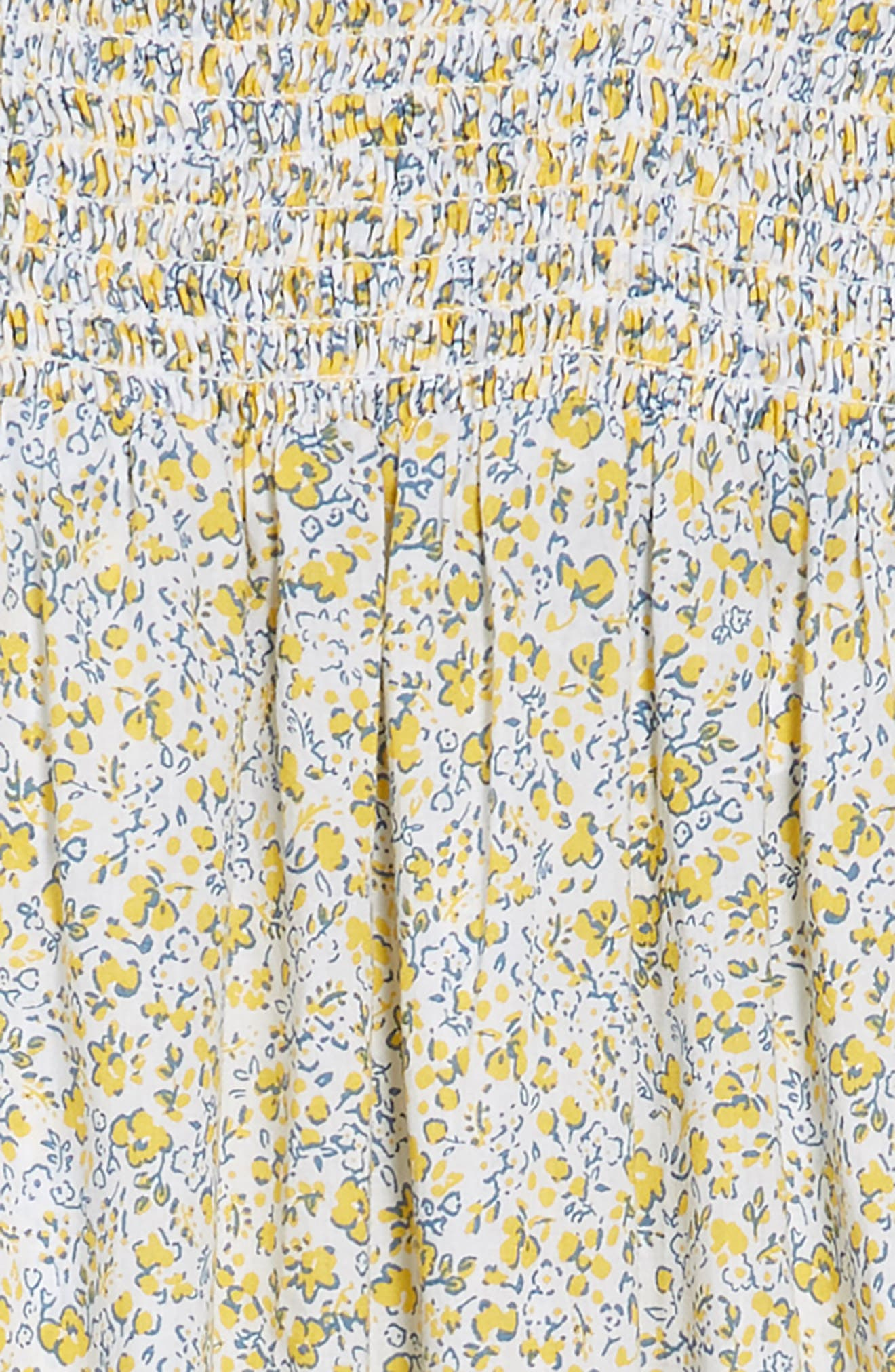 Smocked Ditzy Floral Romper,                             Alternate thumbnail 2, color,                             WHITE- YELLOW TONAL DITSY