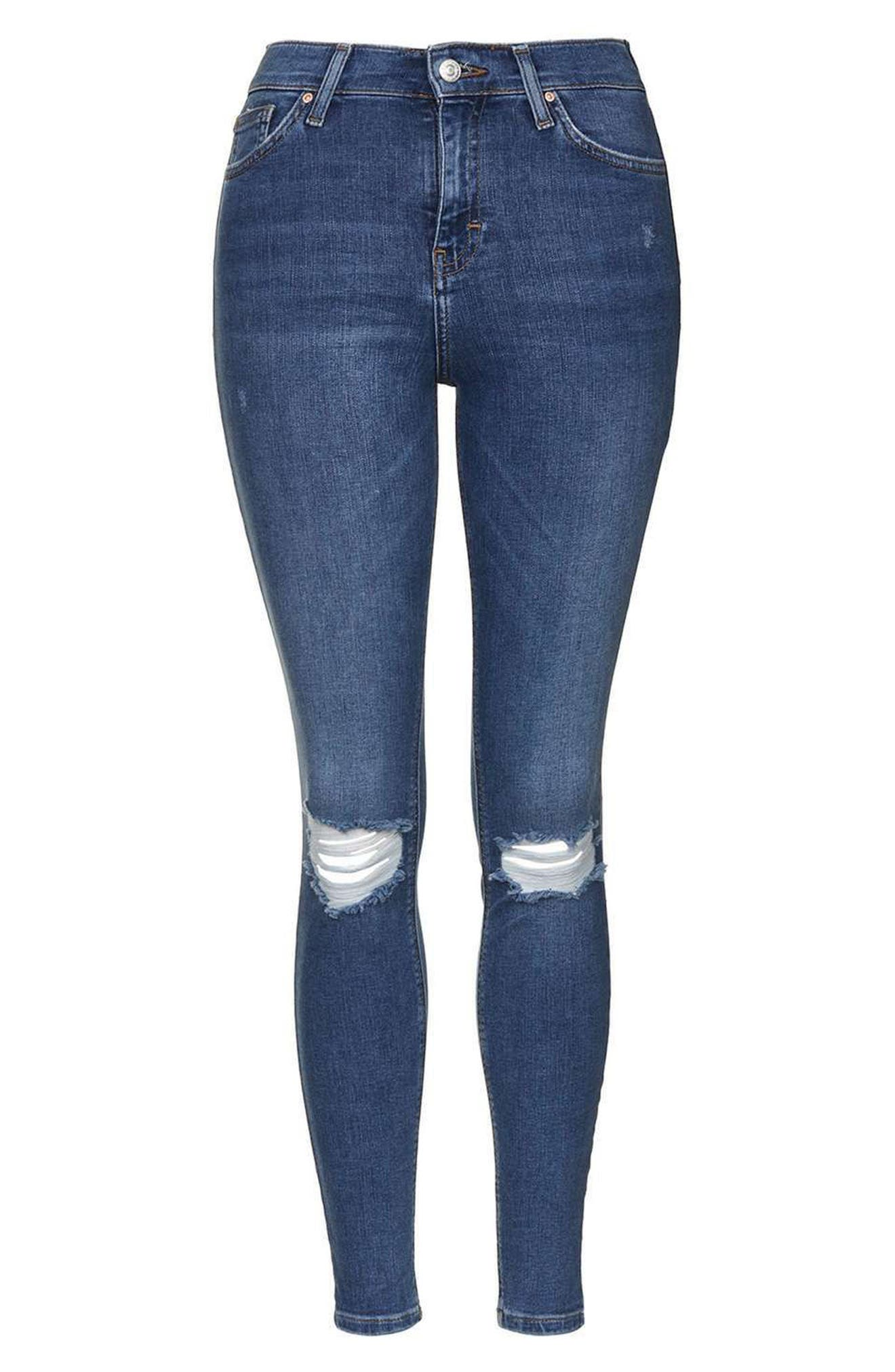Jamie Rip High Waist Skinny Jeans,                             Alternate thumbnail 5, color,                             420