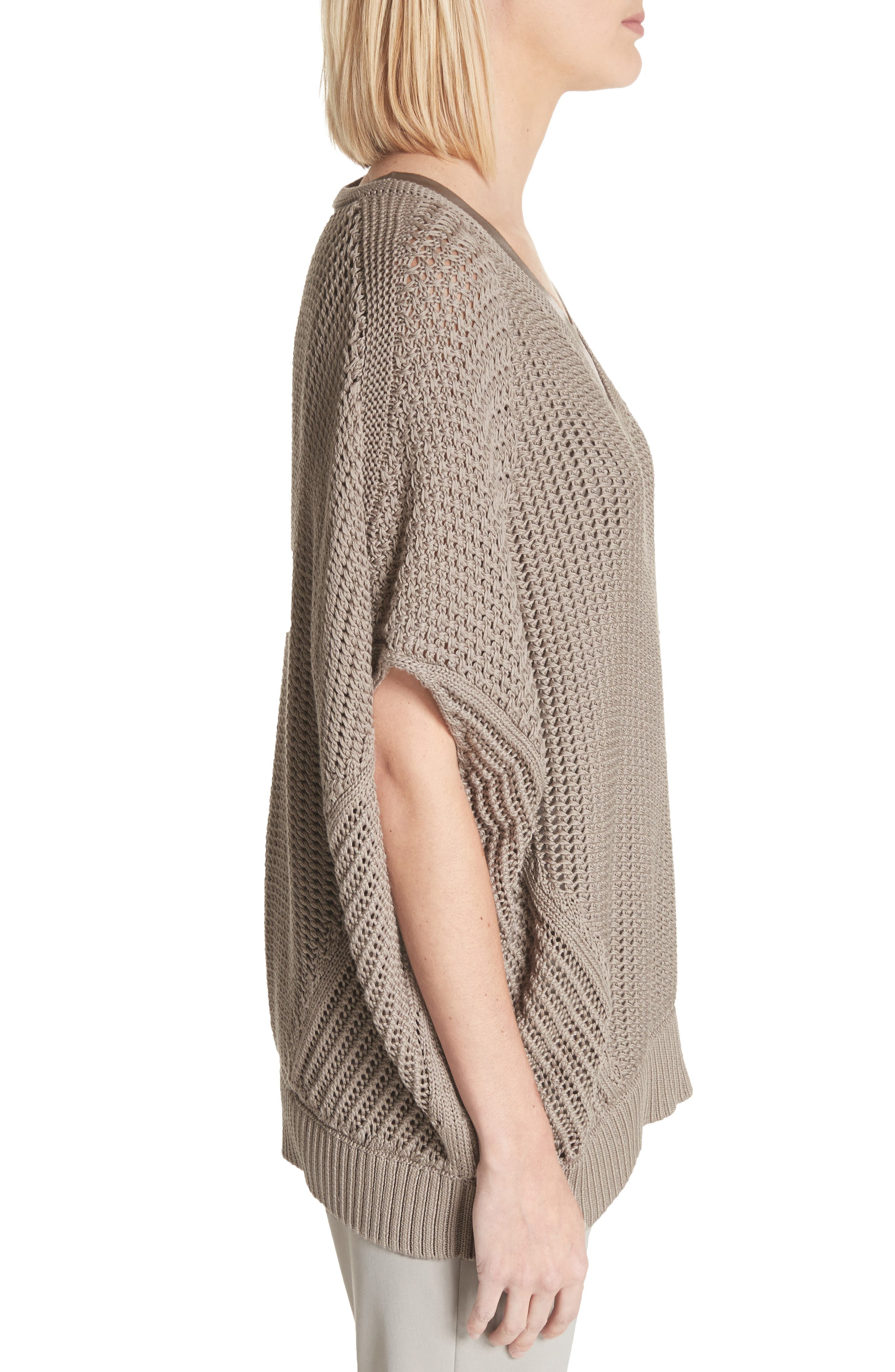 Mixed Stitch Cotton & Silk Sweater,                             Alternate thumbnail 3, color,                             026