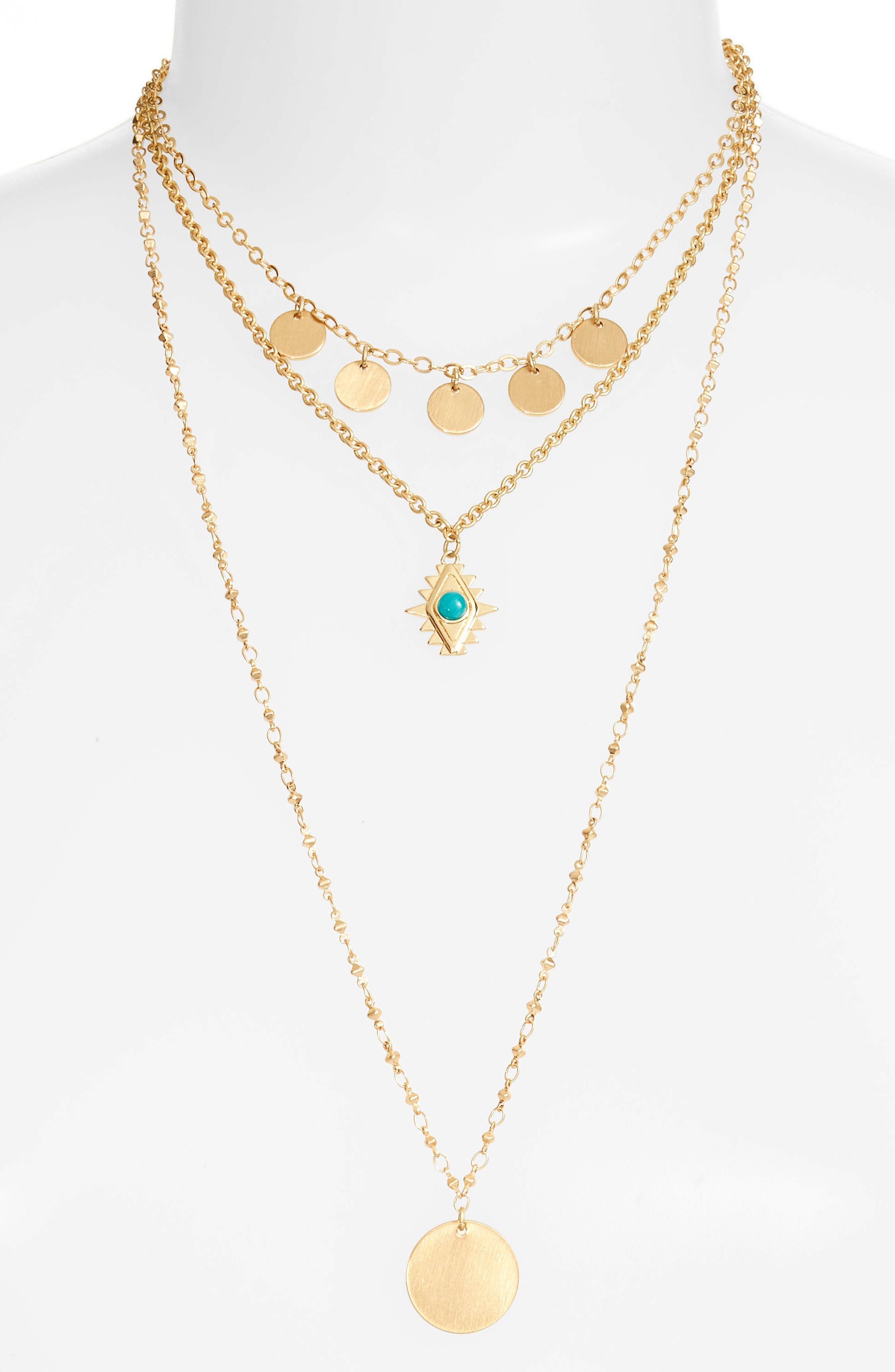 Triple Layer Charm Necklace,                             Main thumbnail 1, color,                             710