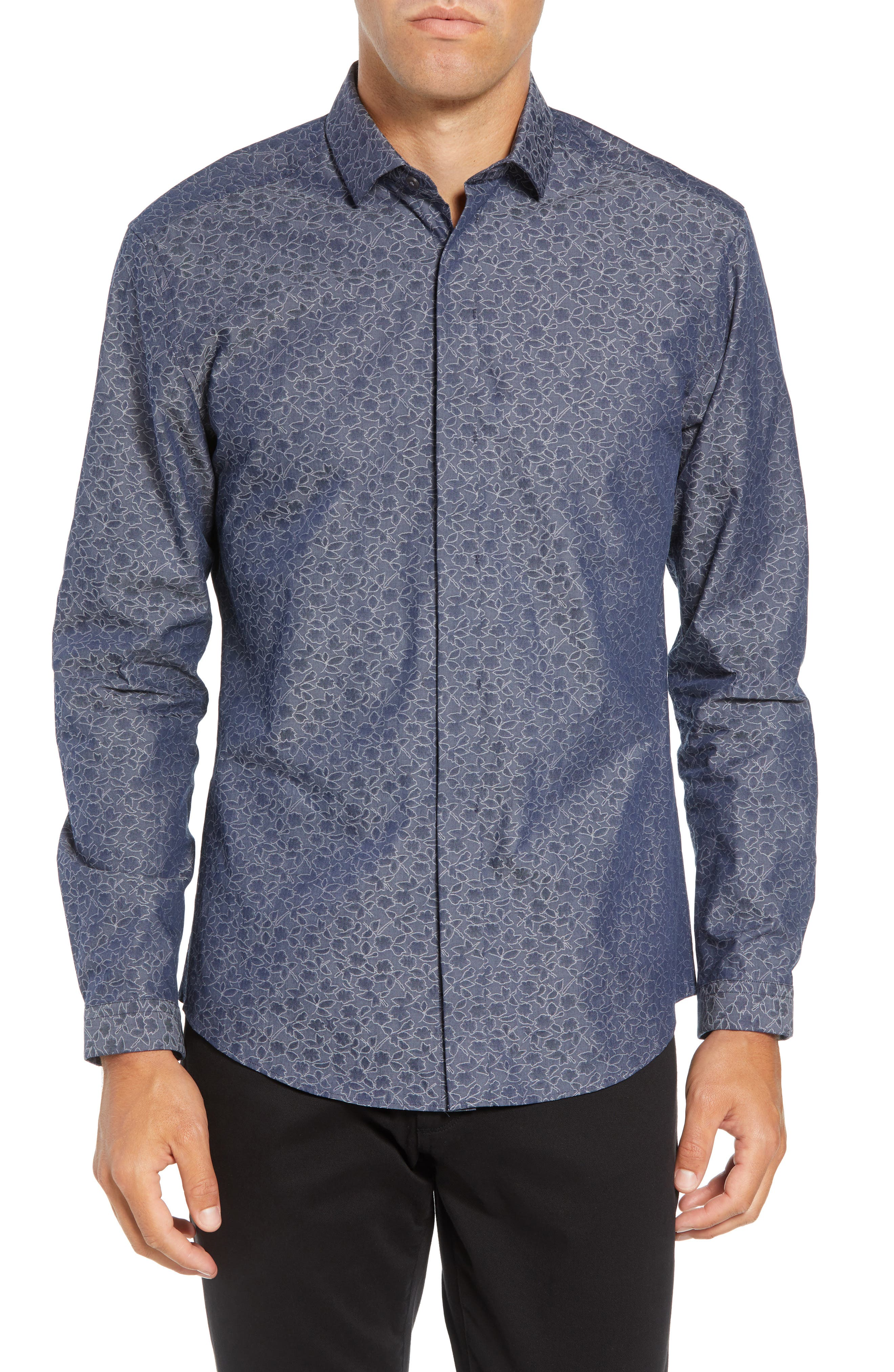 Slim Fit Print Sport Shirt,                         Main,                         color, NAVY DOBBY