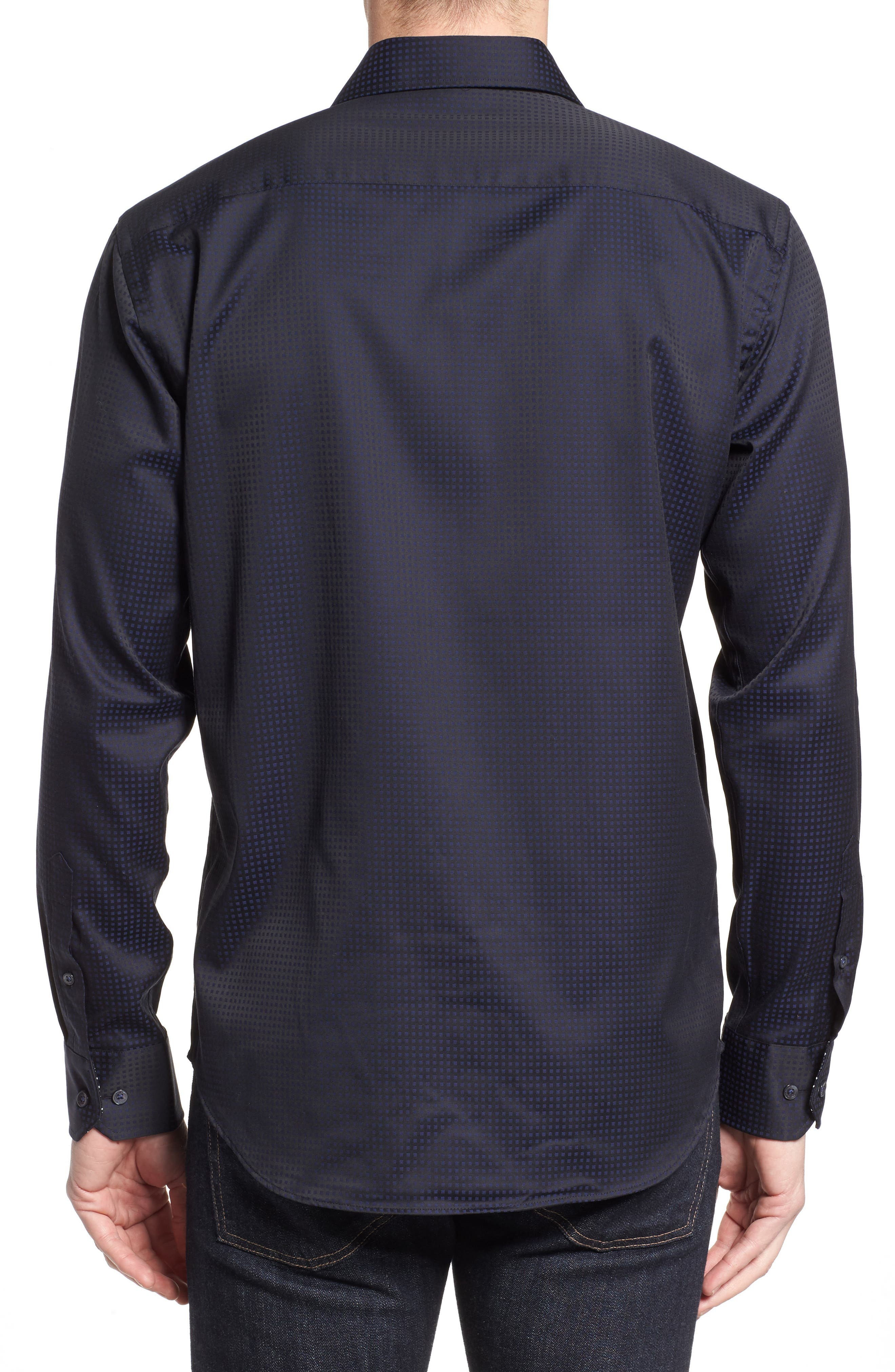 Shaped Fit Check Sport Shirt,                             Alternate thumbnail 2, color,