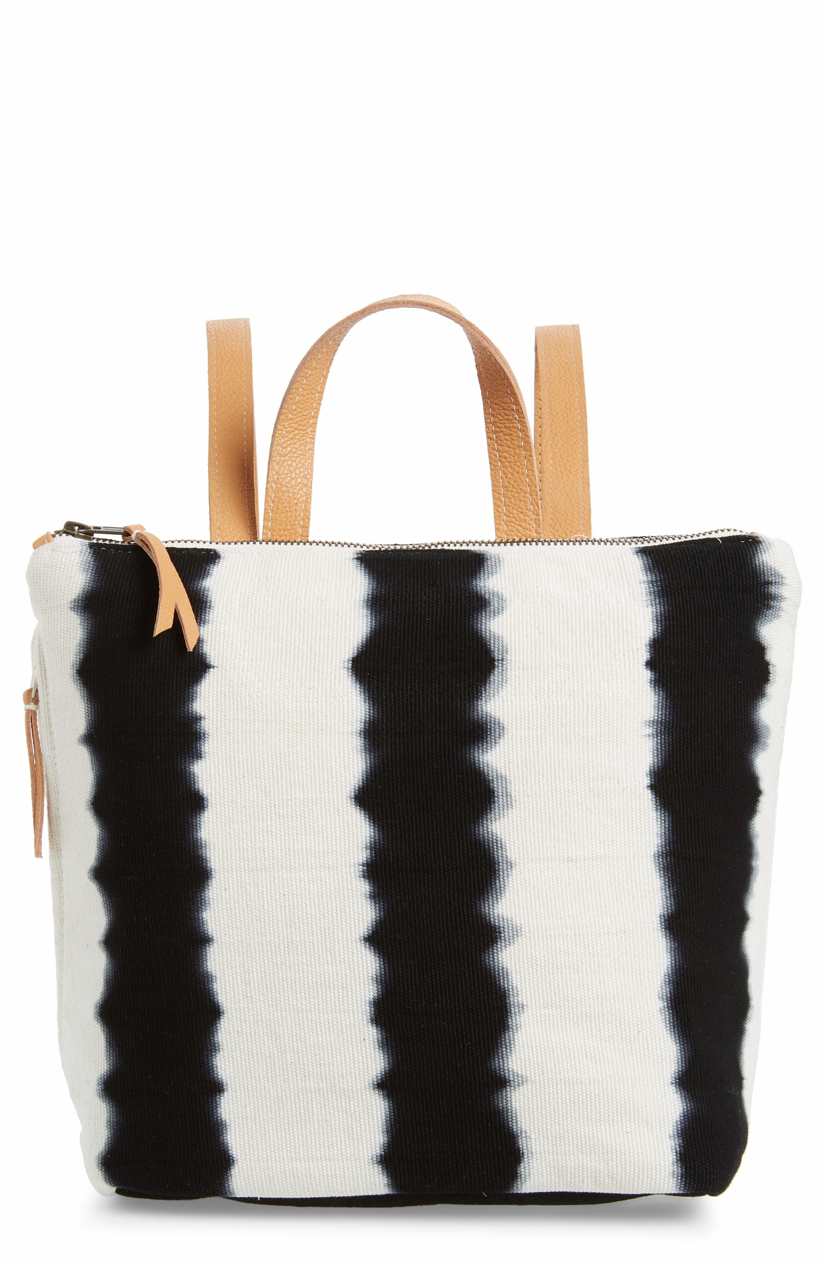 MERCADO GLOBAL Mini Lorena Woven Backpack, Main, color, BLACK HAND DYE