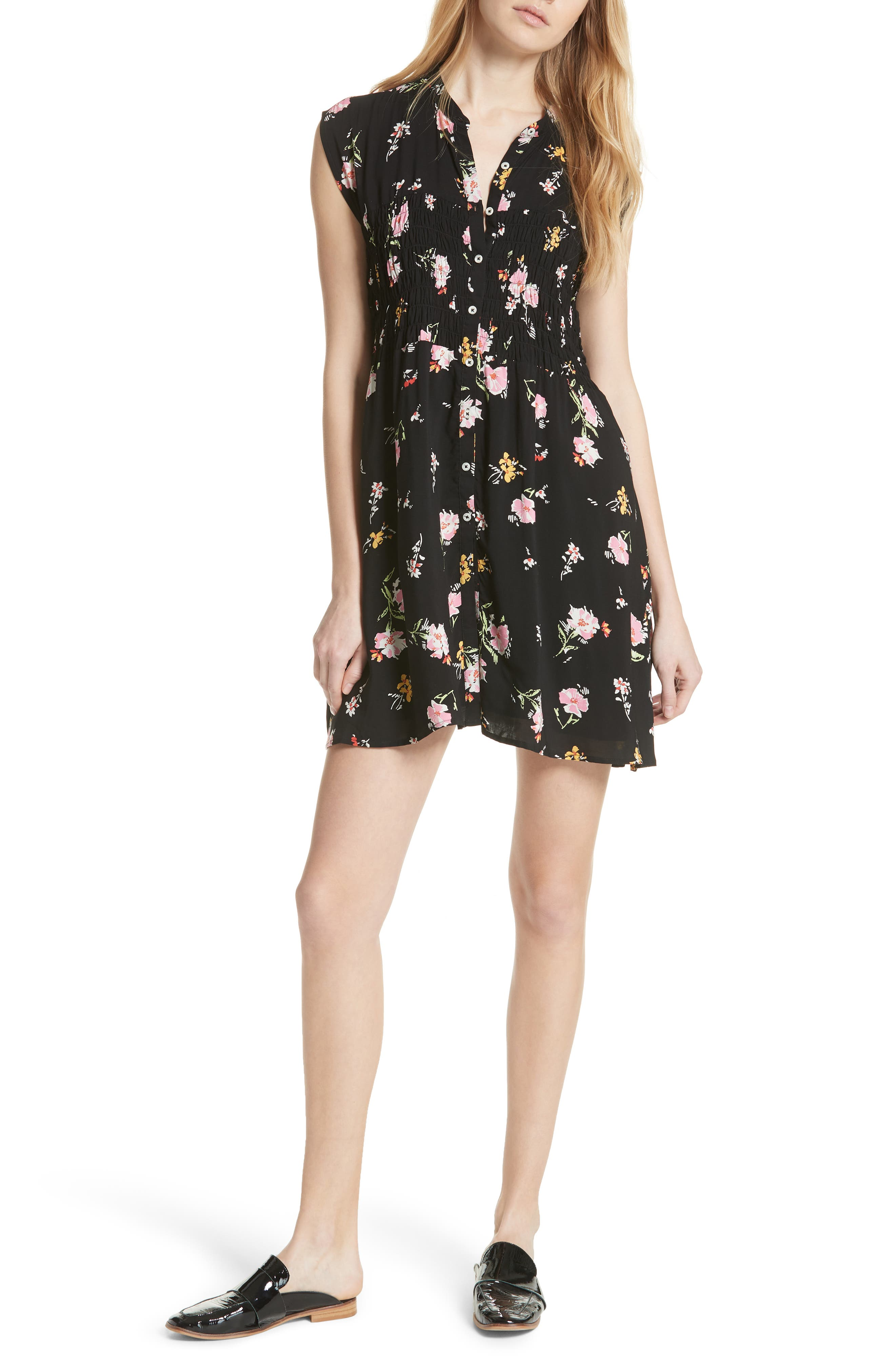 Greatest Day Smocked Minidress,                         Main,                         color, 001