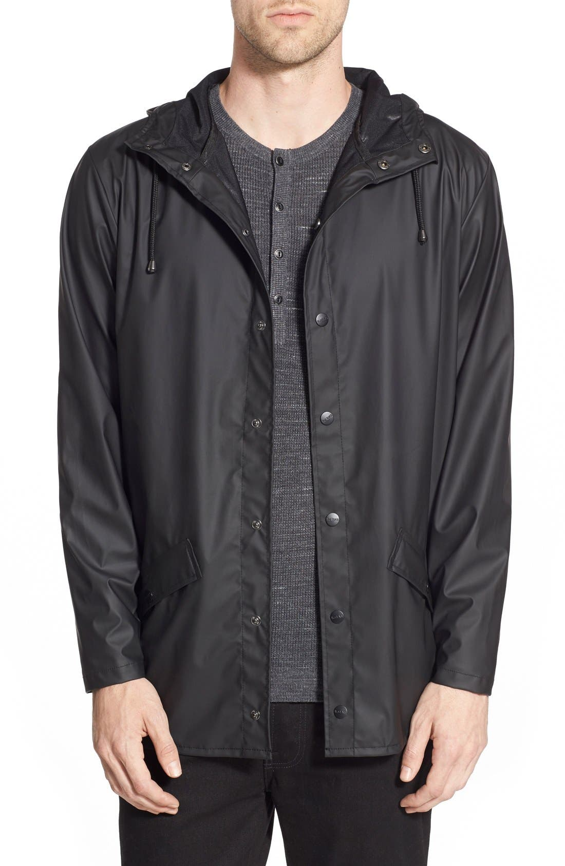 Lightweight Hooded Rain Jacket,                         Main,                         color, BLACK