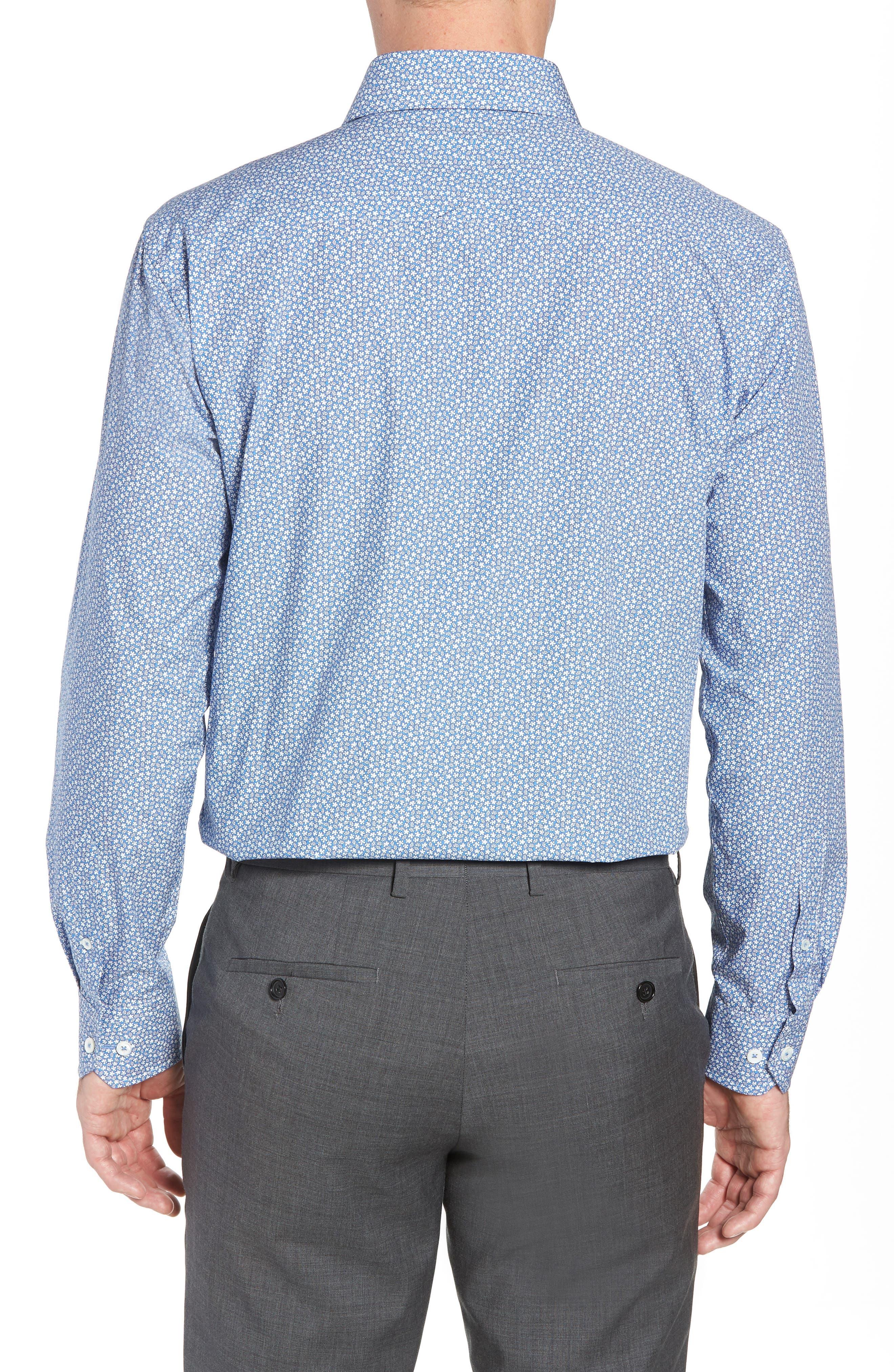 Trim Fit Print Dress Shirt,                             Alternate thumbnail 3, color,                             CLASSIC BLUE