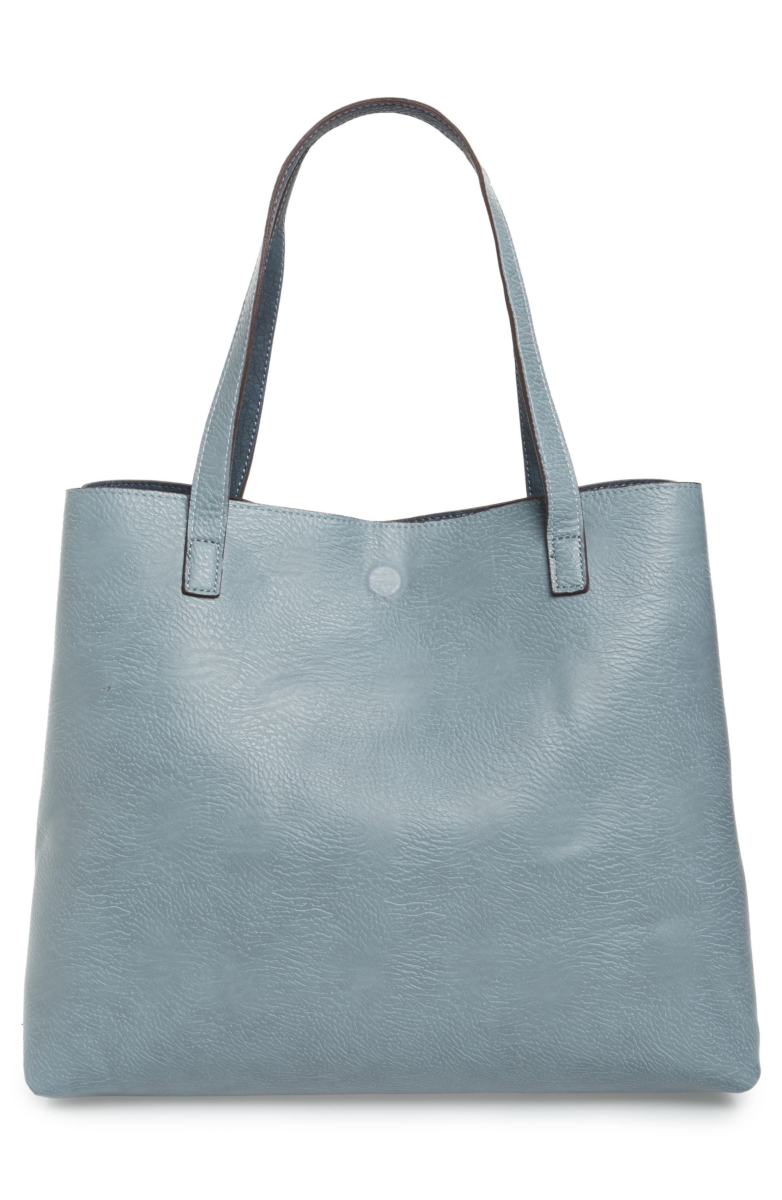 Reversible Faux Leather Tote,                             Alternate thumbnail 8, color,