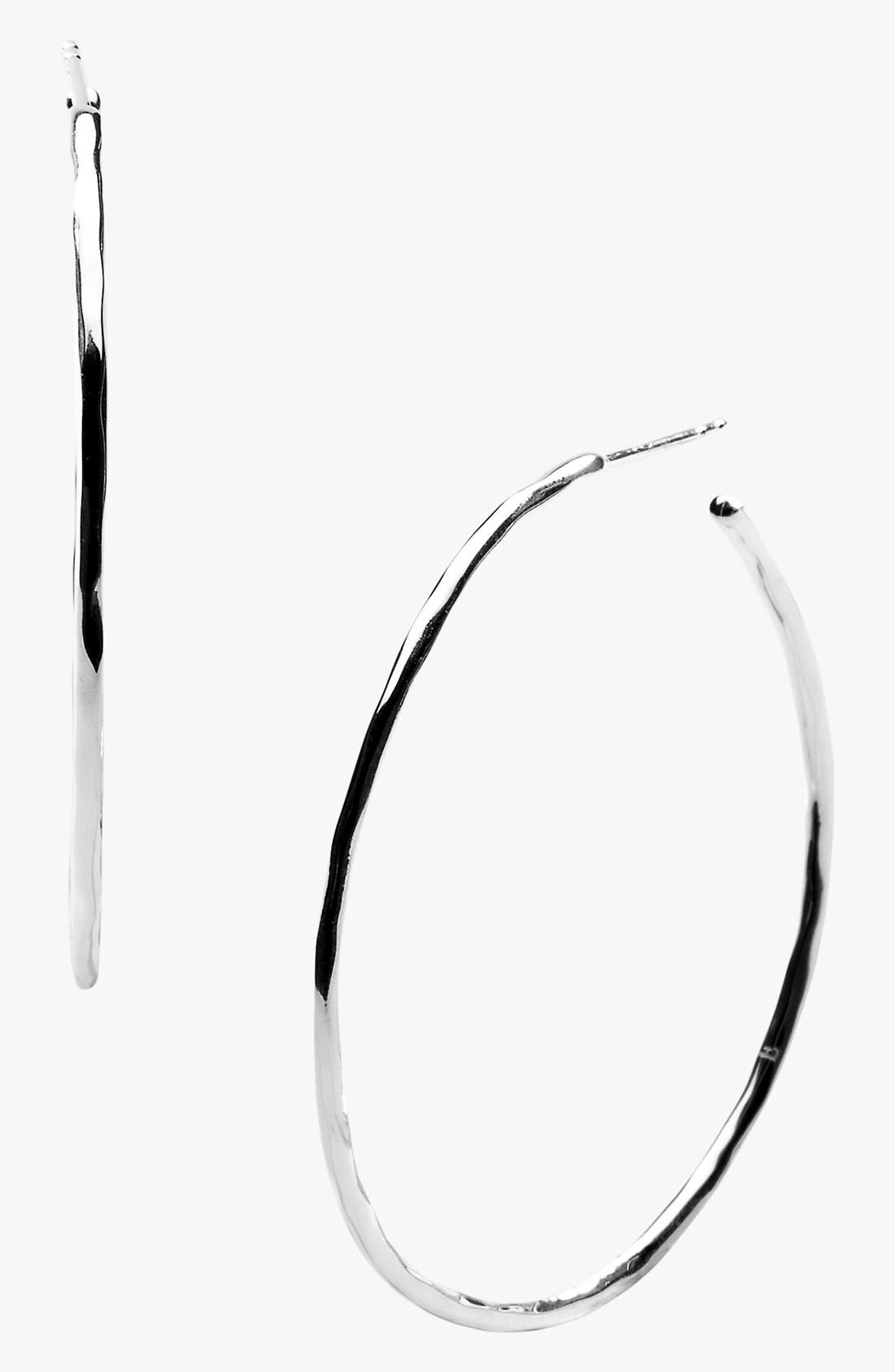 'Shiny Squiggle' Hoop Earrings,                             Main thumbnail 1, color,                             STERLING SILVER