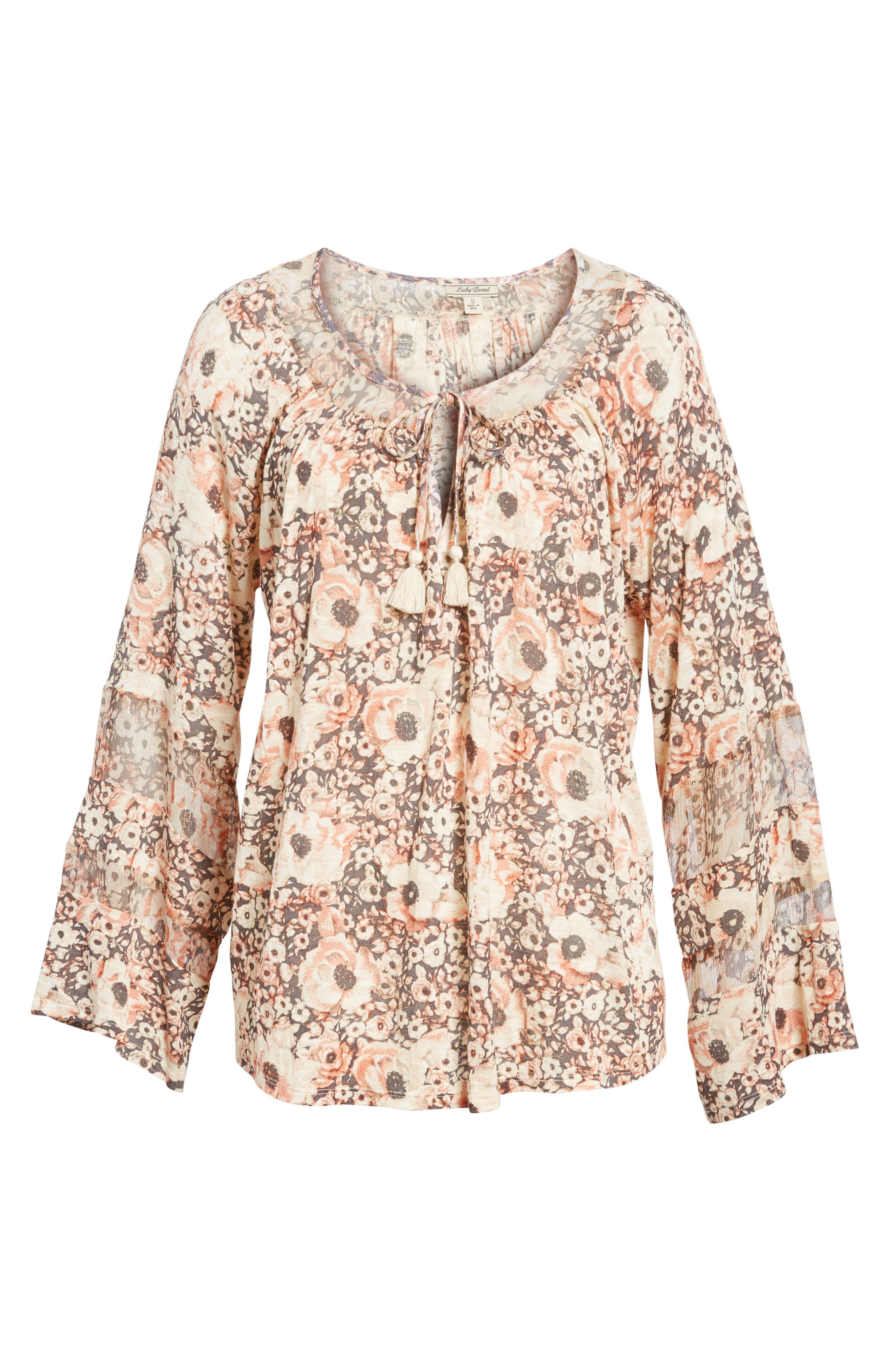 Bell Sleeve Floral Mixed Media Top,                             Alternate thumbnail 6, color,                             650