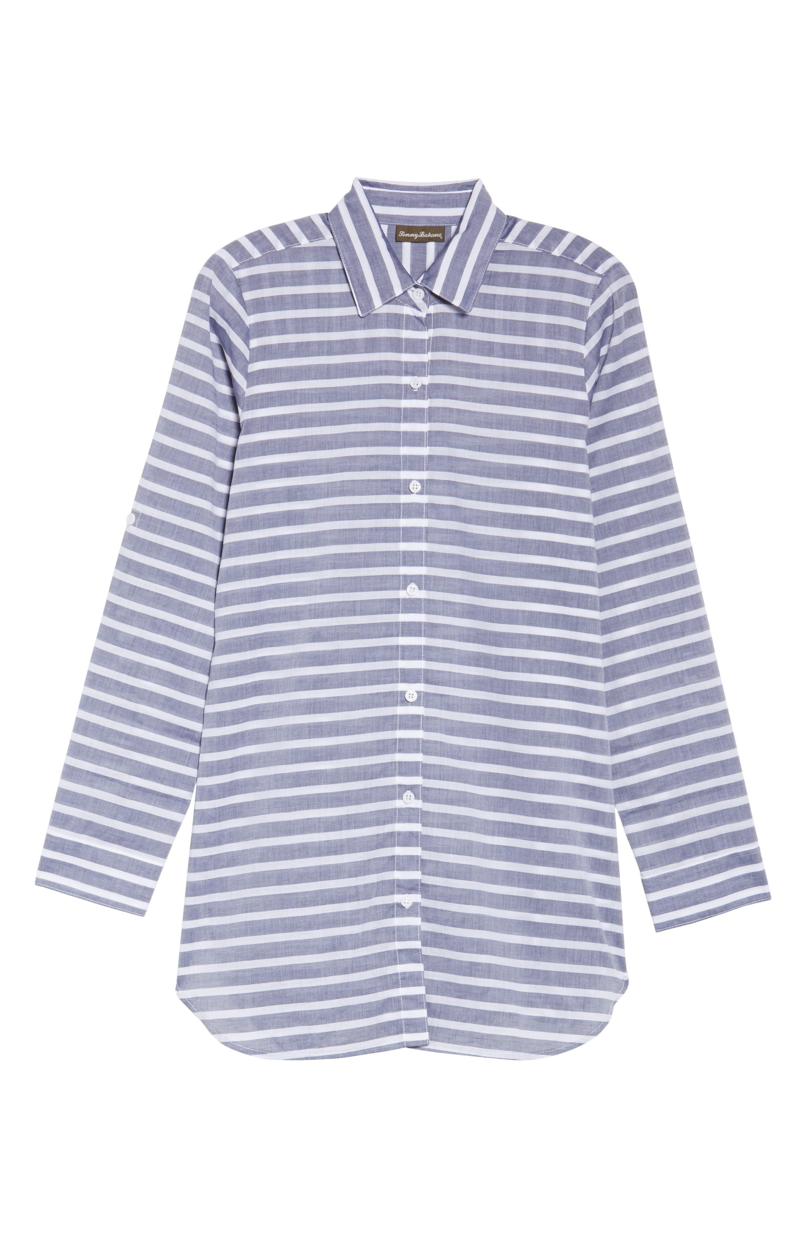 Brenton Stripe Boyfriend Shirt Cover-Up,                             Alternate thumbnail 6, color,                             401
