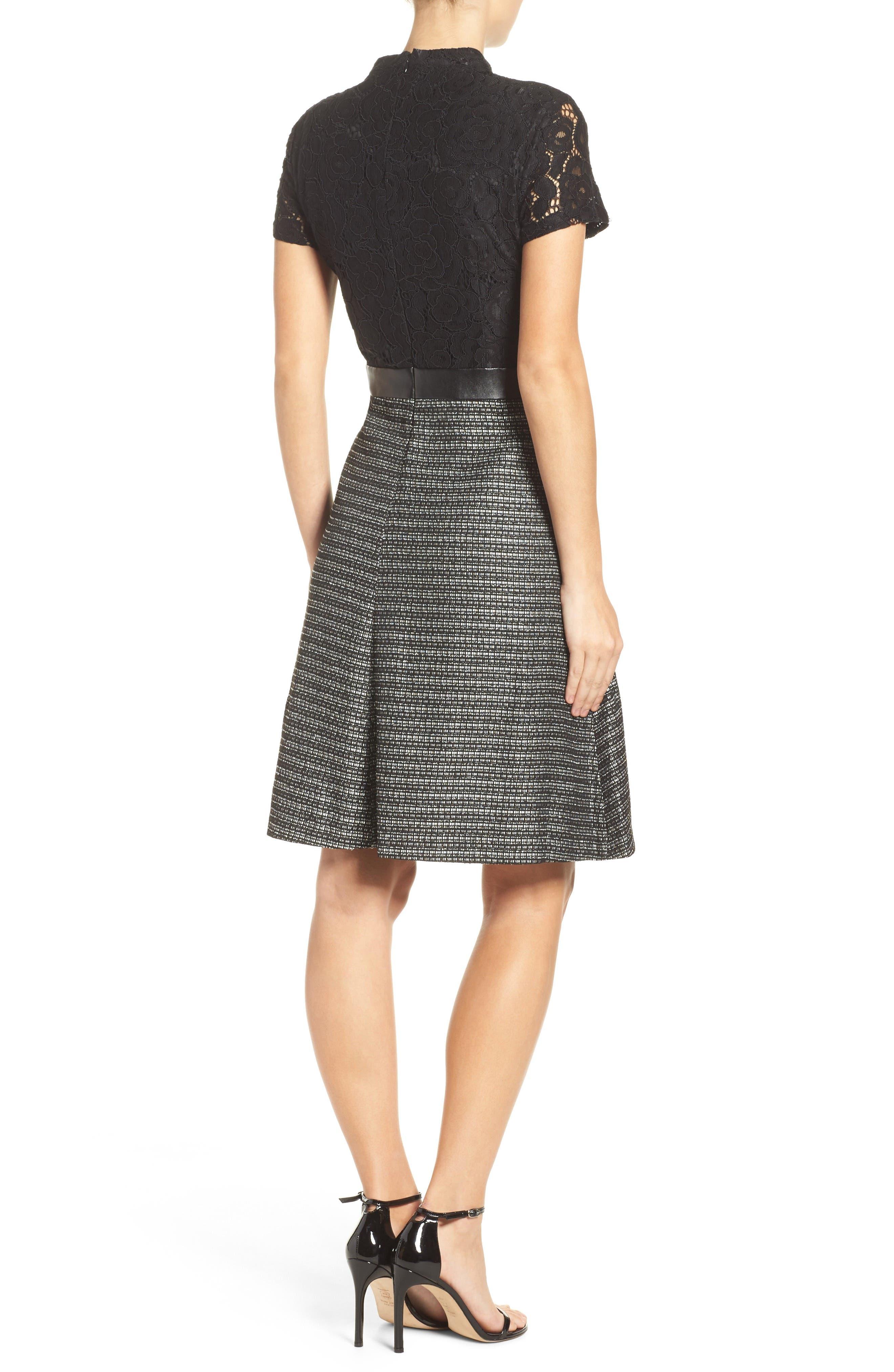 Fit & Flare Dress,                             Alternate thumbnail 2, color,                             001