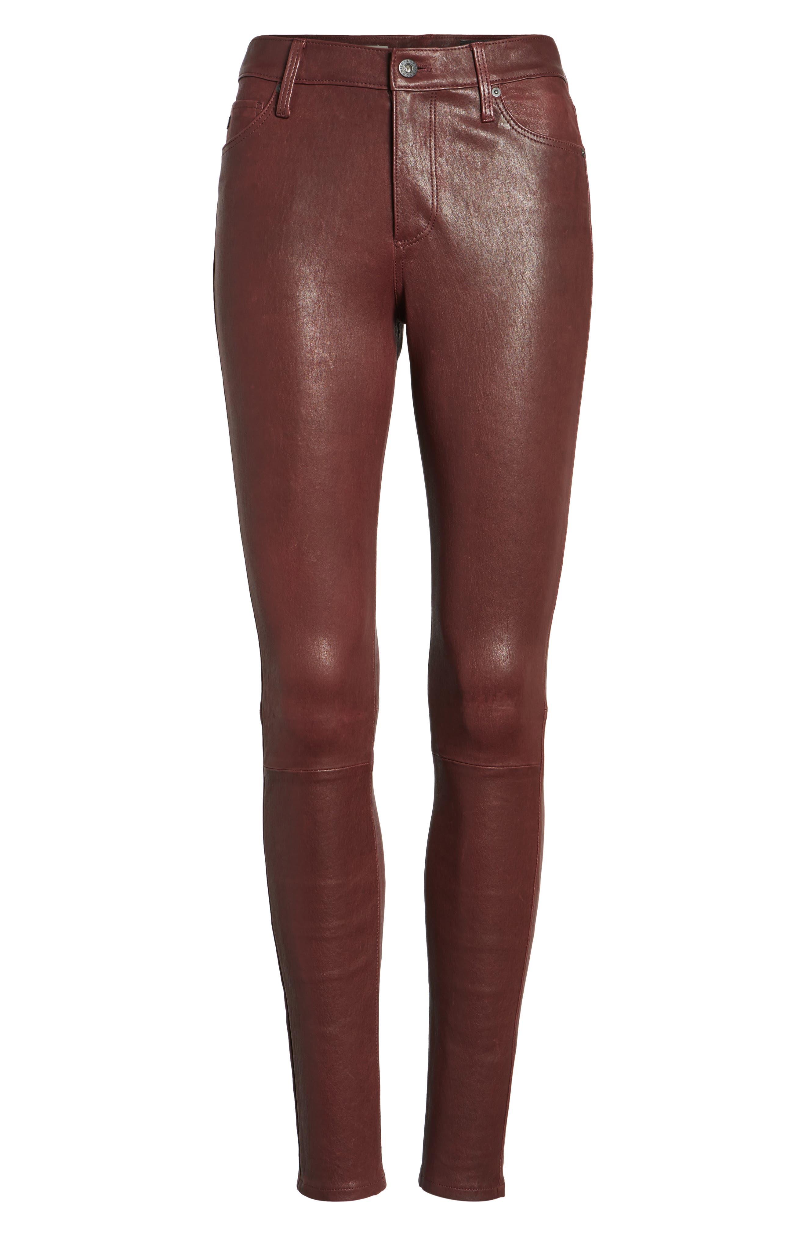 Farrah Leather Skinny Jeans,                             Alternate thumbnail 17, color,