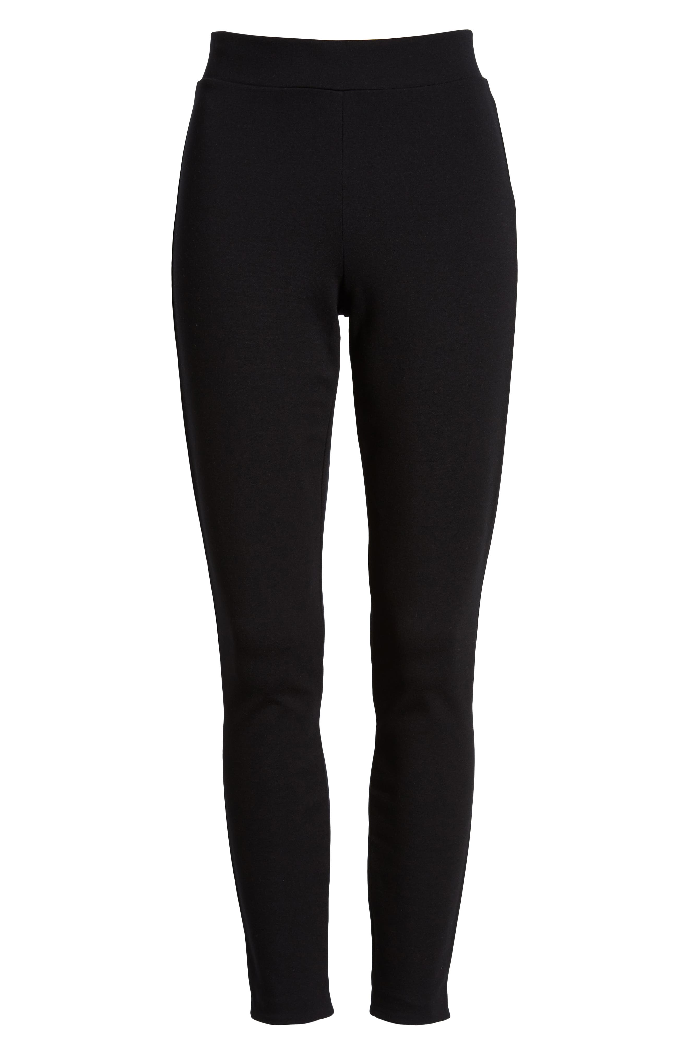 Grace Laced Detail Leggings,                             Alternate thumbnail 6, color,                             BLACK/ BLACK