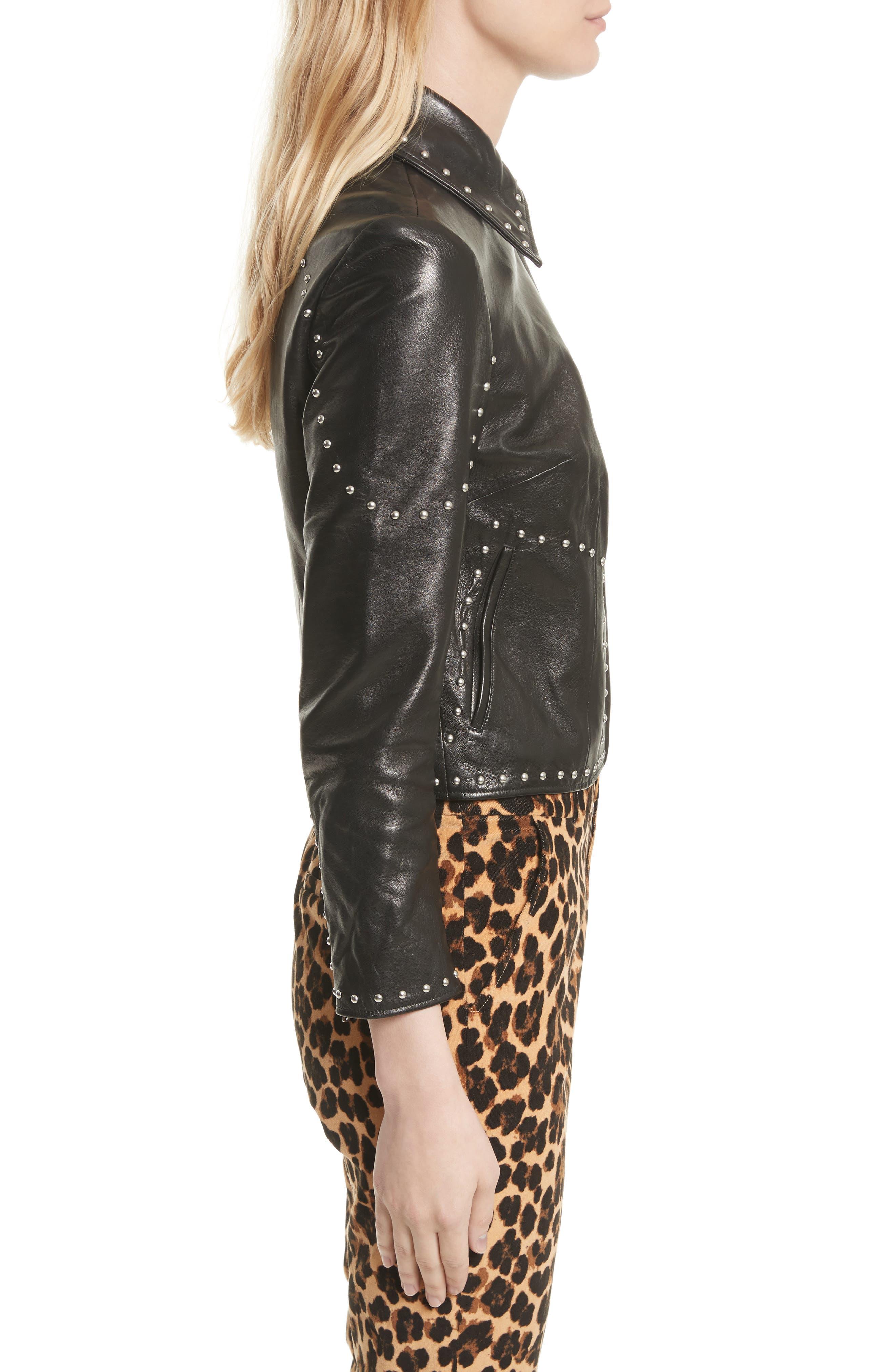 Studded Leather Jacket,                             Alternate thumbnail 3, color,                             001