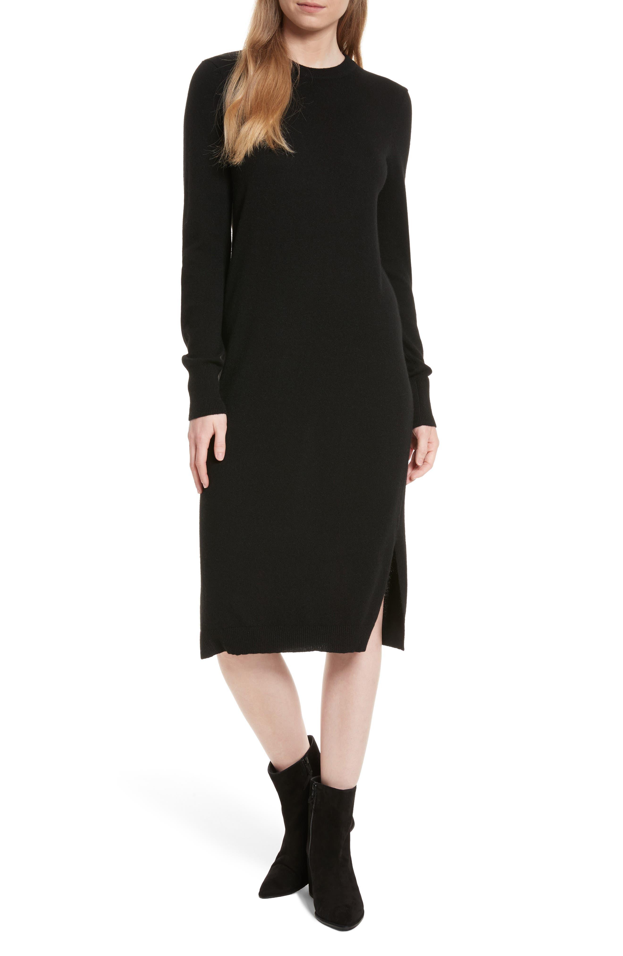Snyder Cashmere Knit Midi Dress,                         Main,                         color, 001